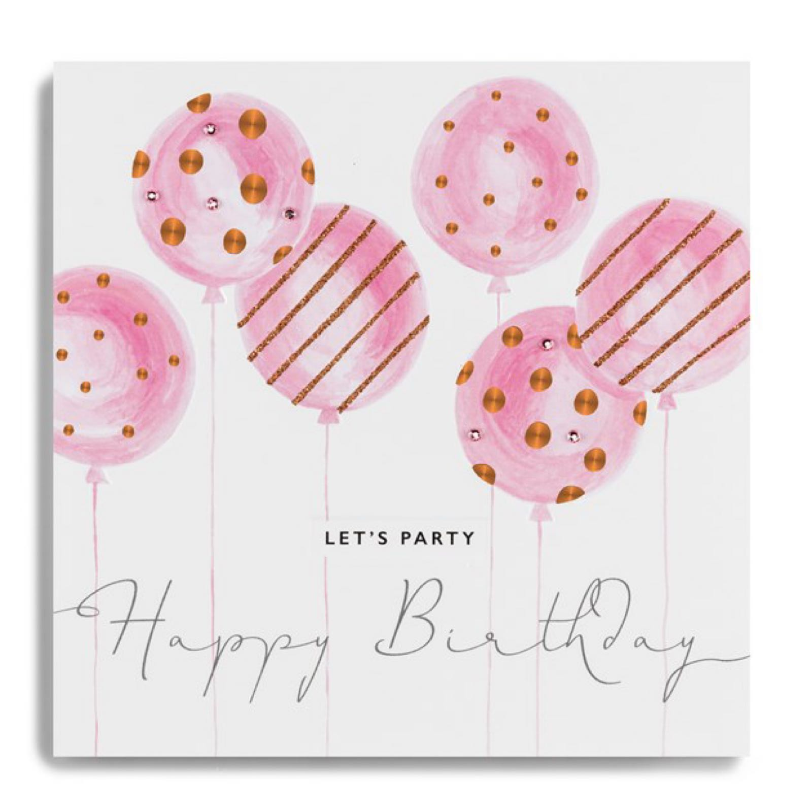Janie Wilson  copper leaf balloons let's party card