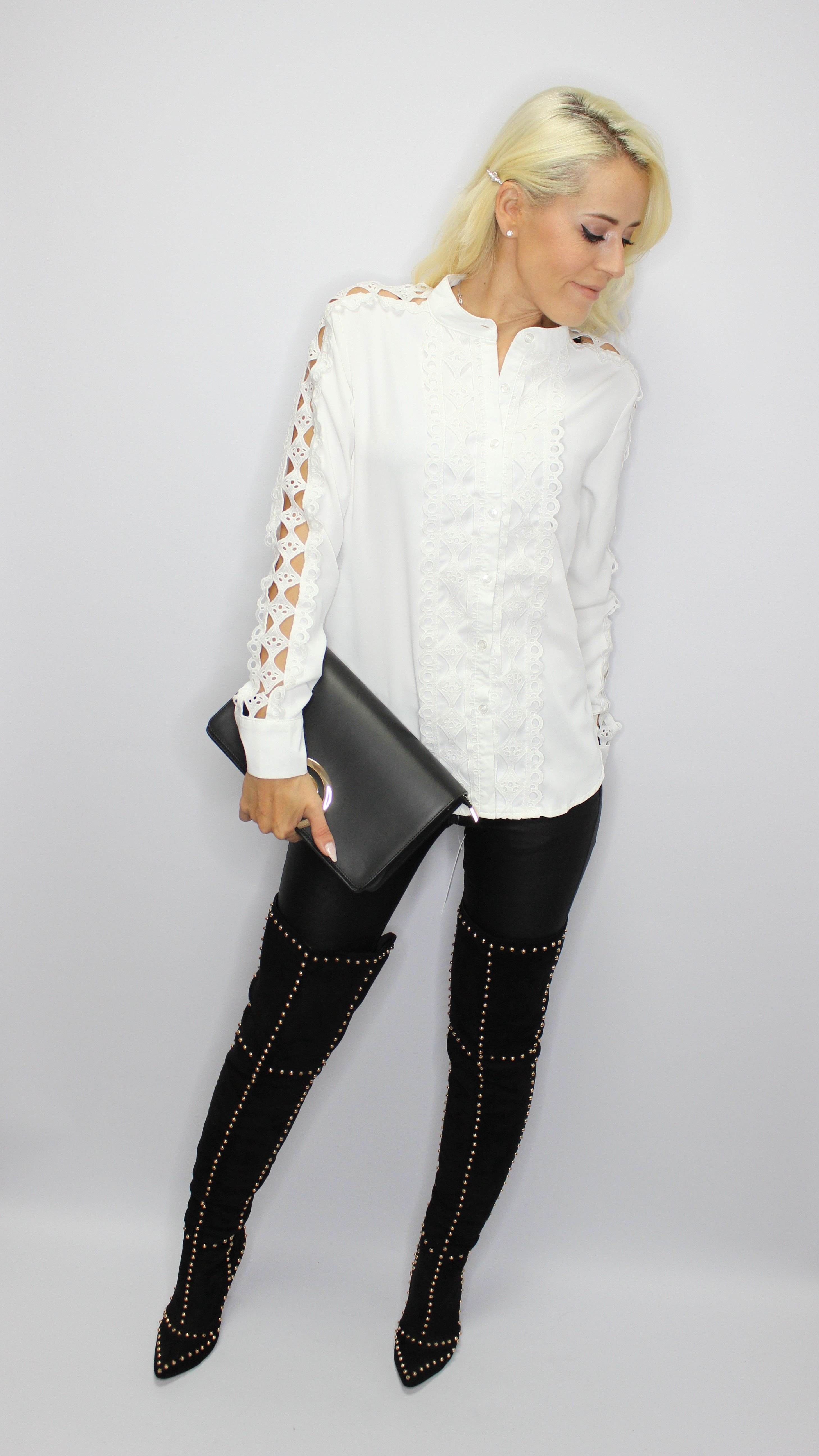 White Shirt With Lace Trim
