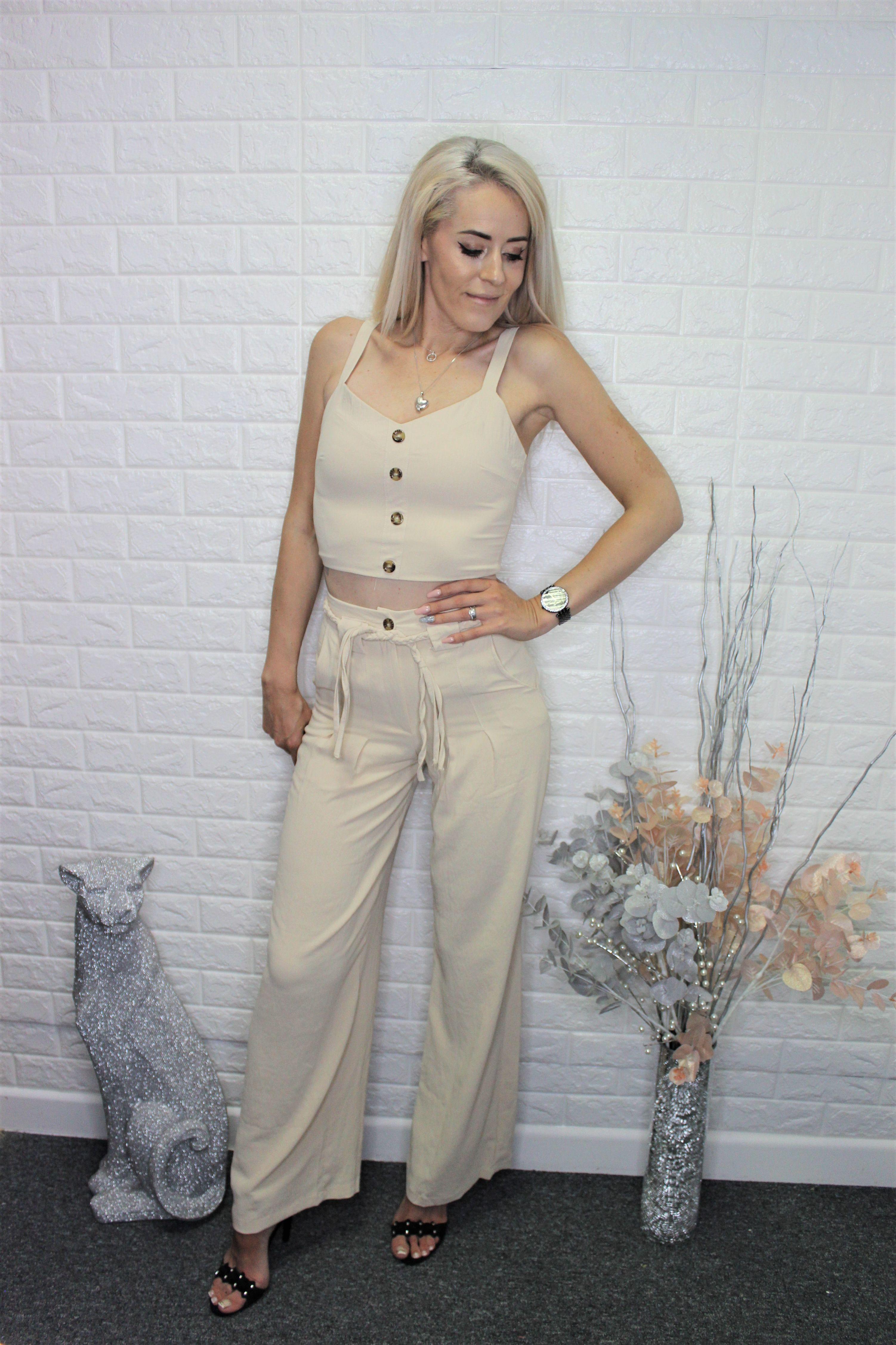 Beige Crop Top & Trousers Set
