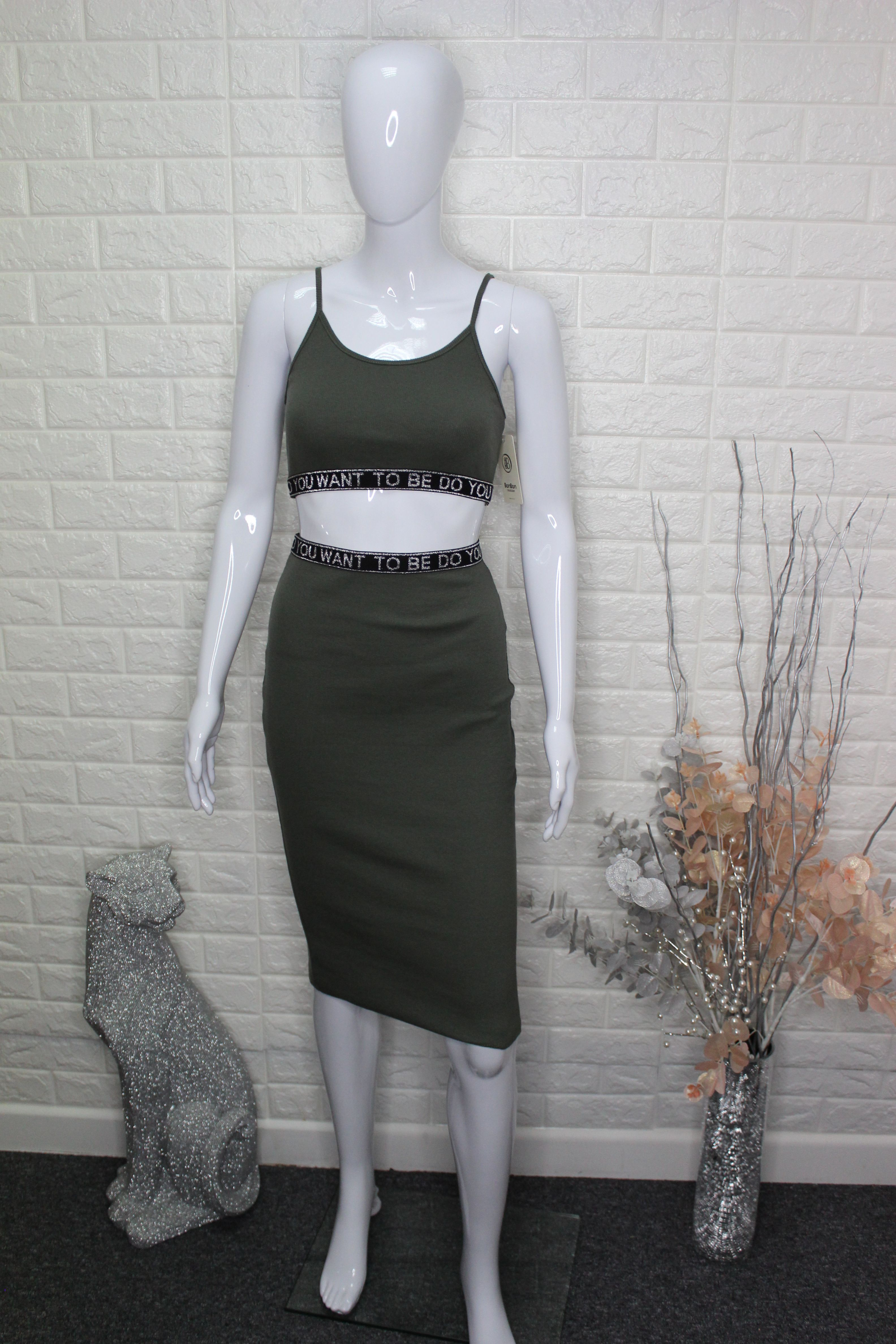 Khaki 2 Piece Skirt/Top Set