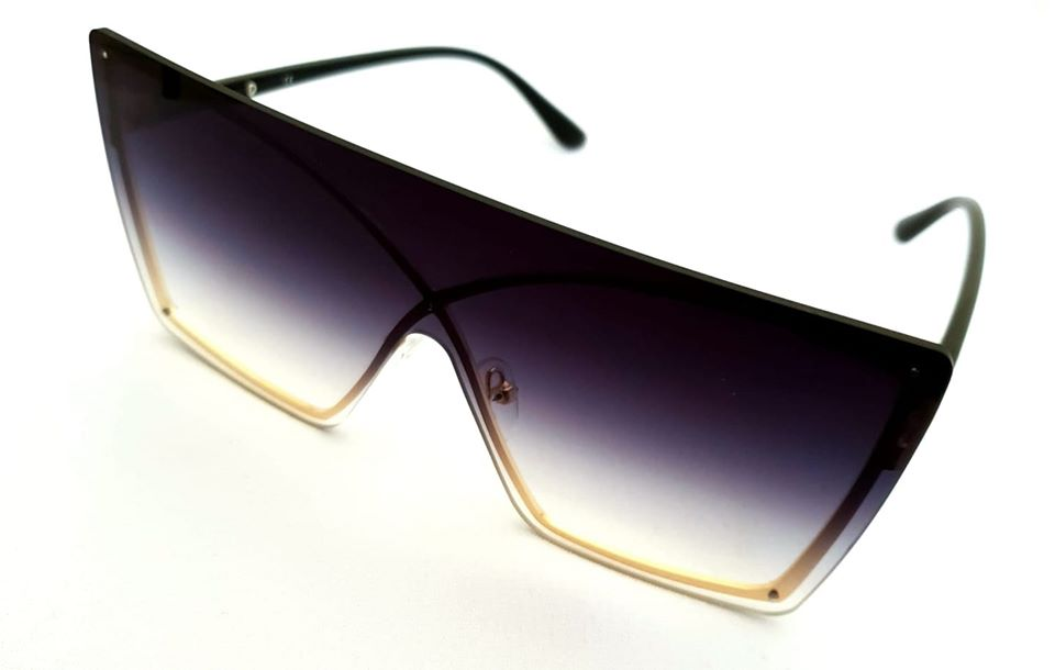 Black Faded Square Oversized Sunglasses