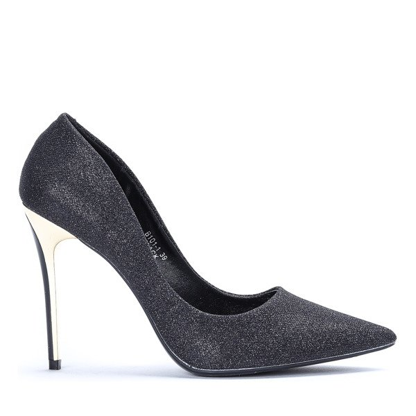 Luxurious Black Stilettos With Glitter