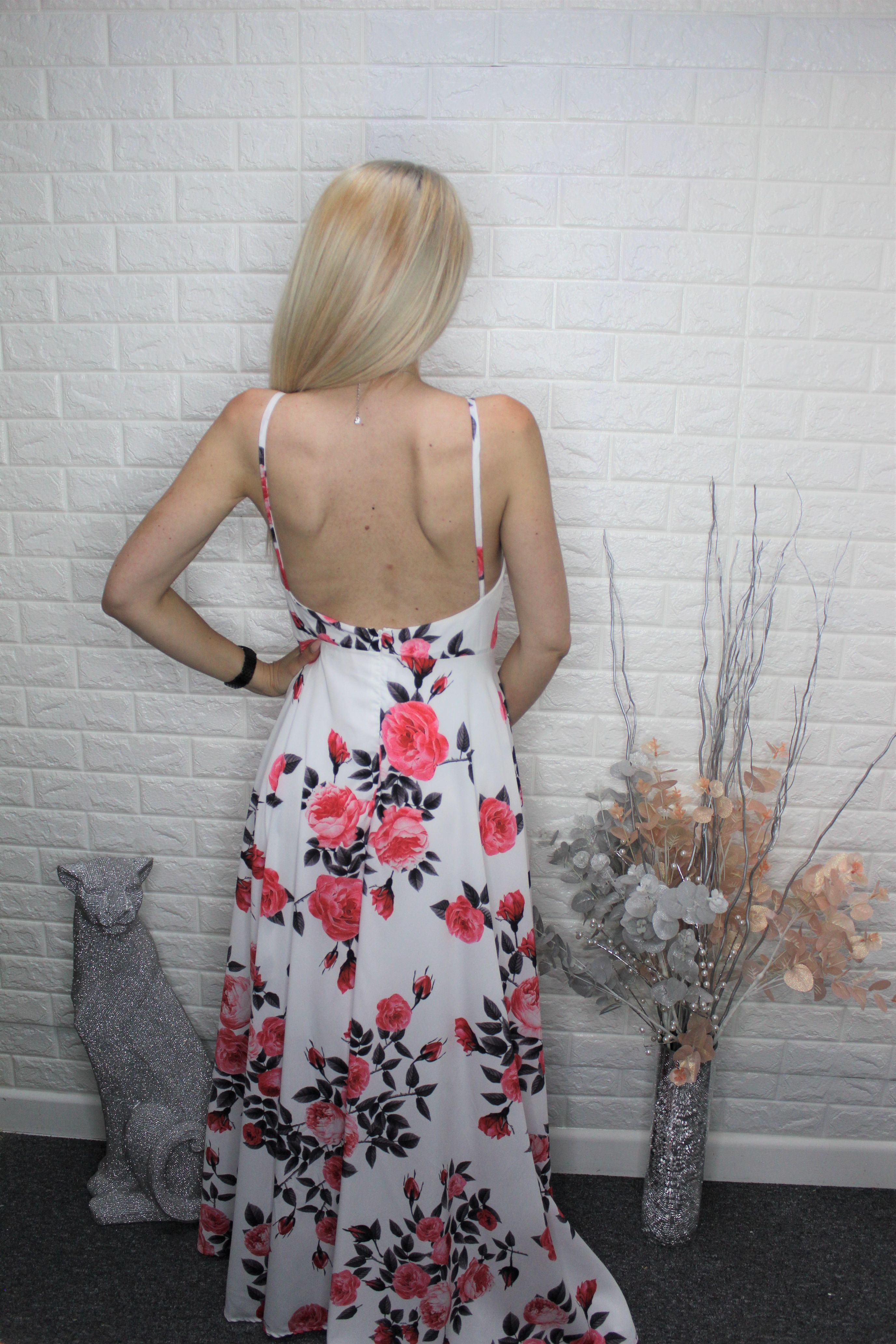 White Floral Backless Evening Dress