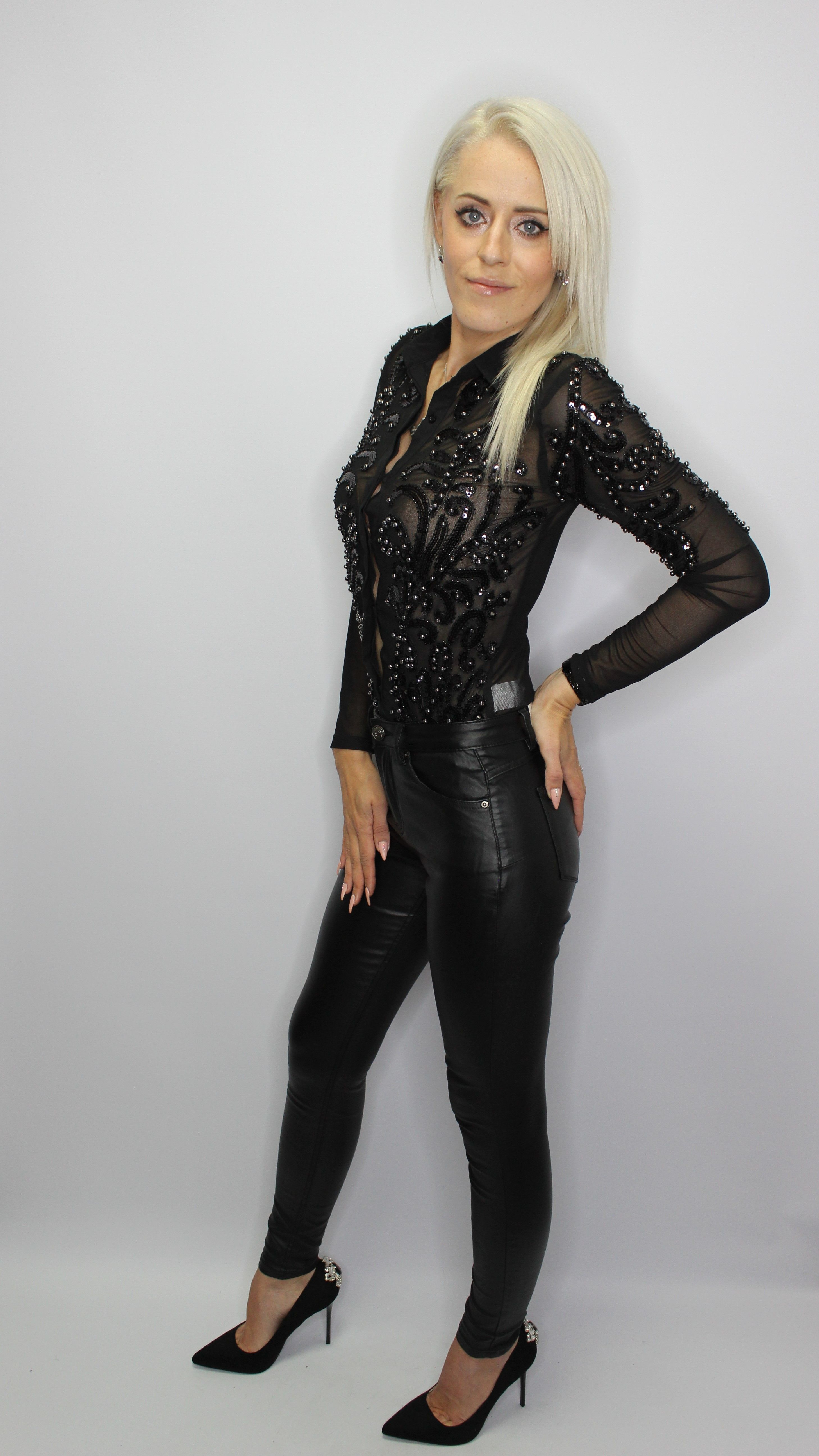 Skinny Black Leather Look Trousers