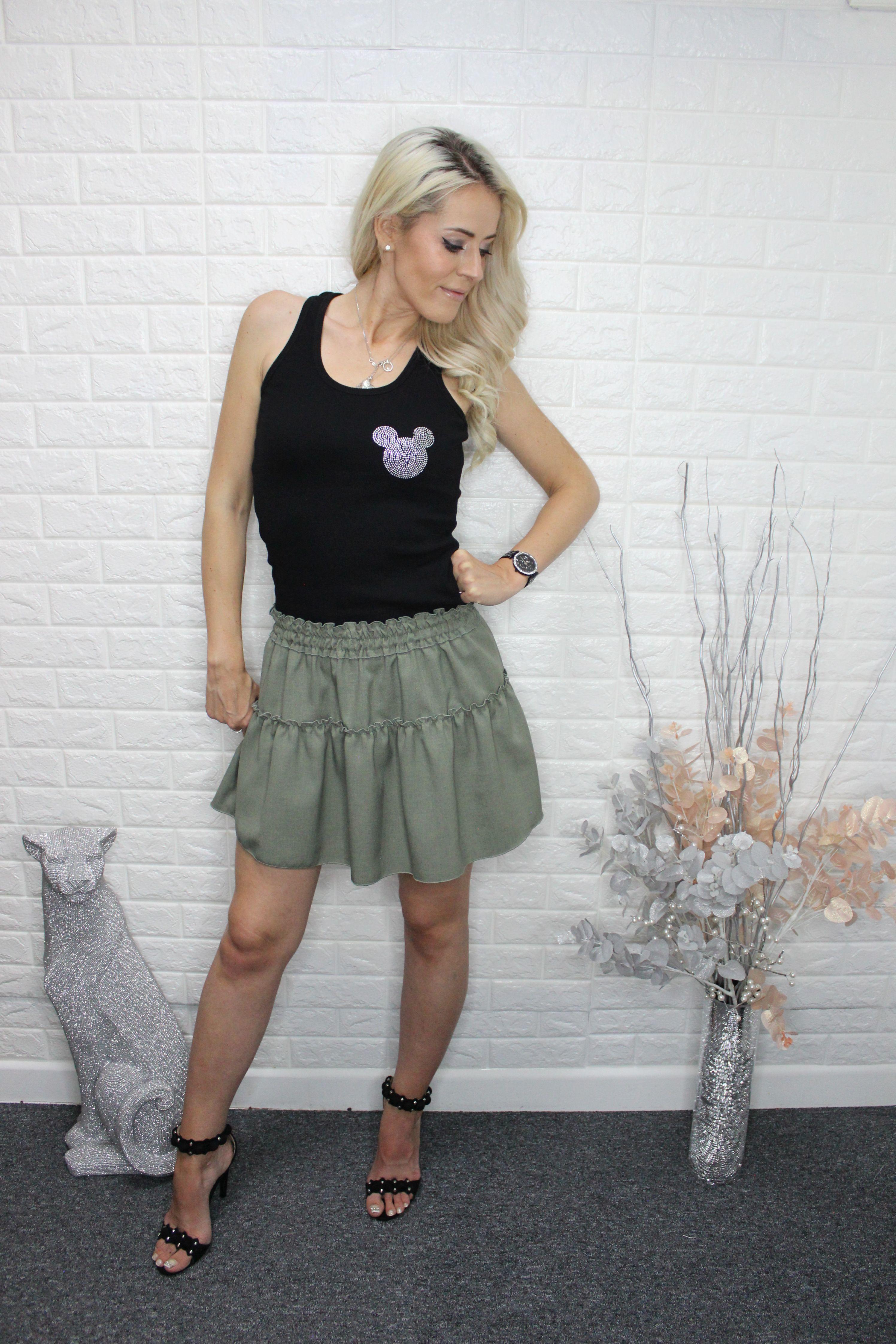 Khaki Casual Mini Skirt