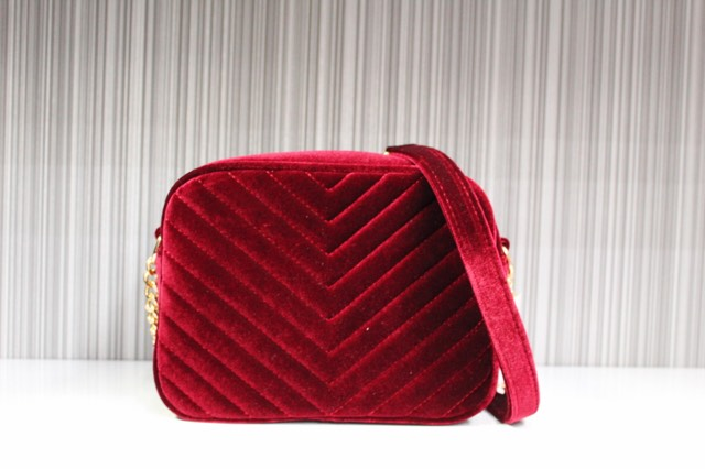 Burgundy Velour Handbag