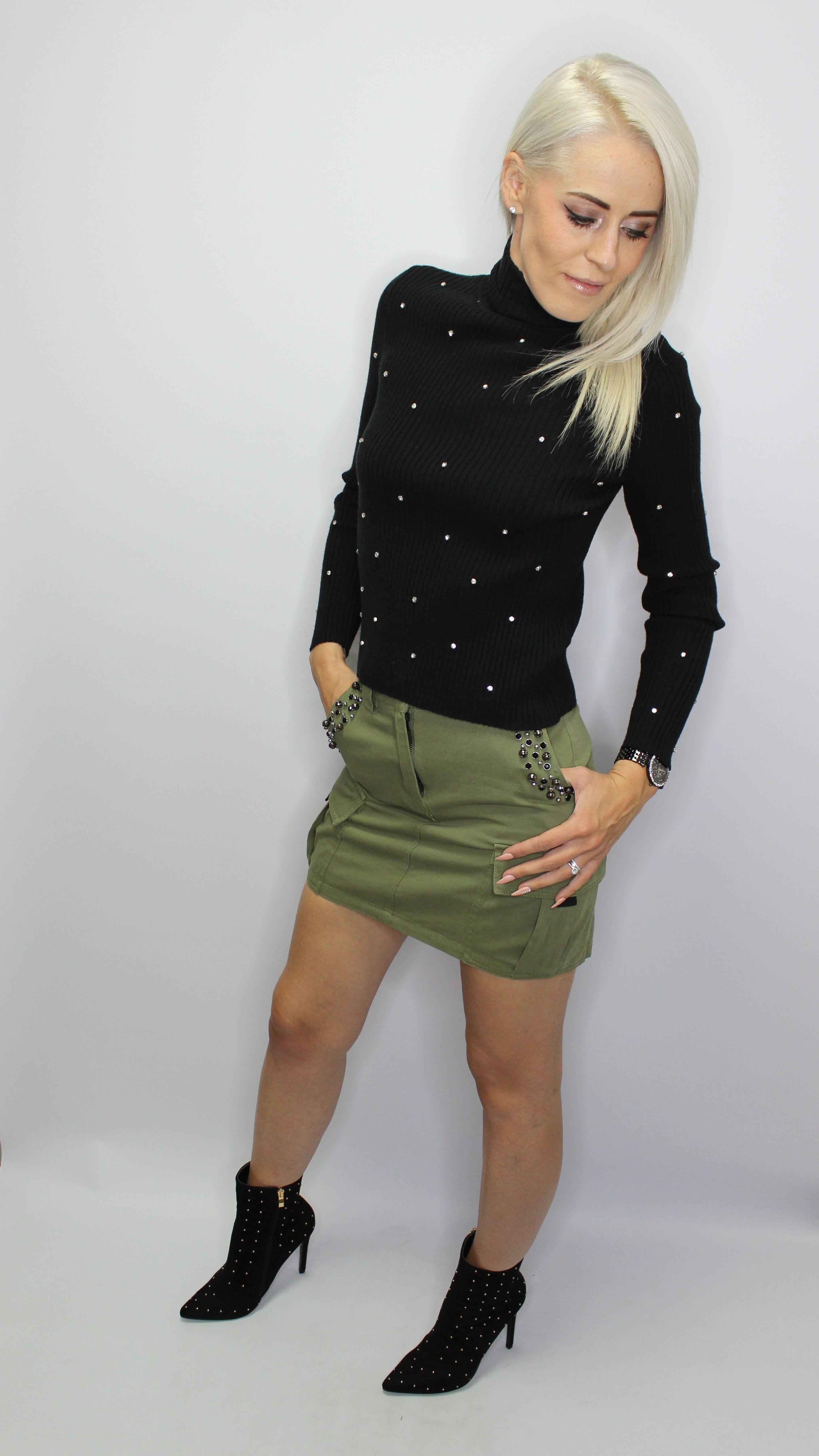 Khaki Cargo Denim Skirt