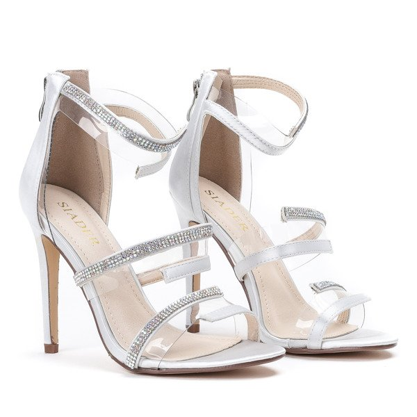Silver Satin Heeled Sandals