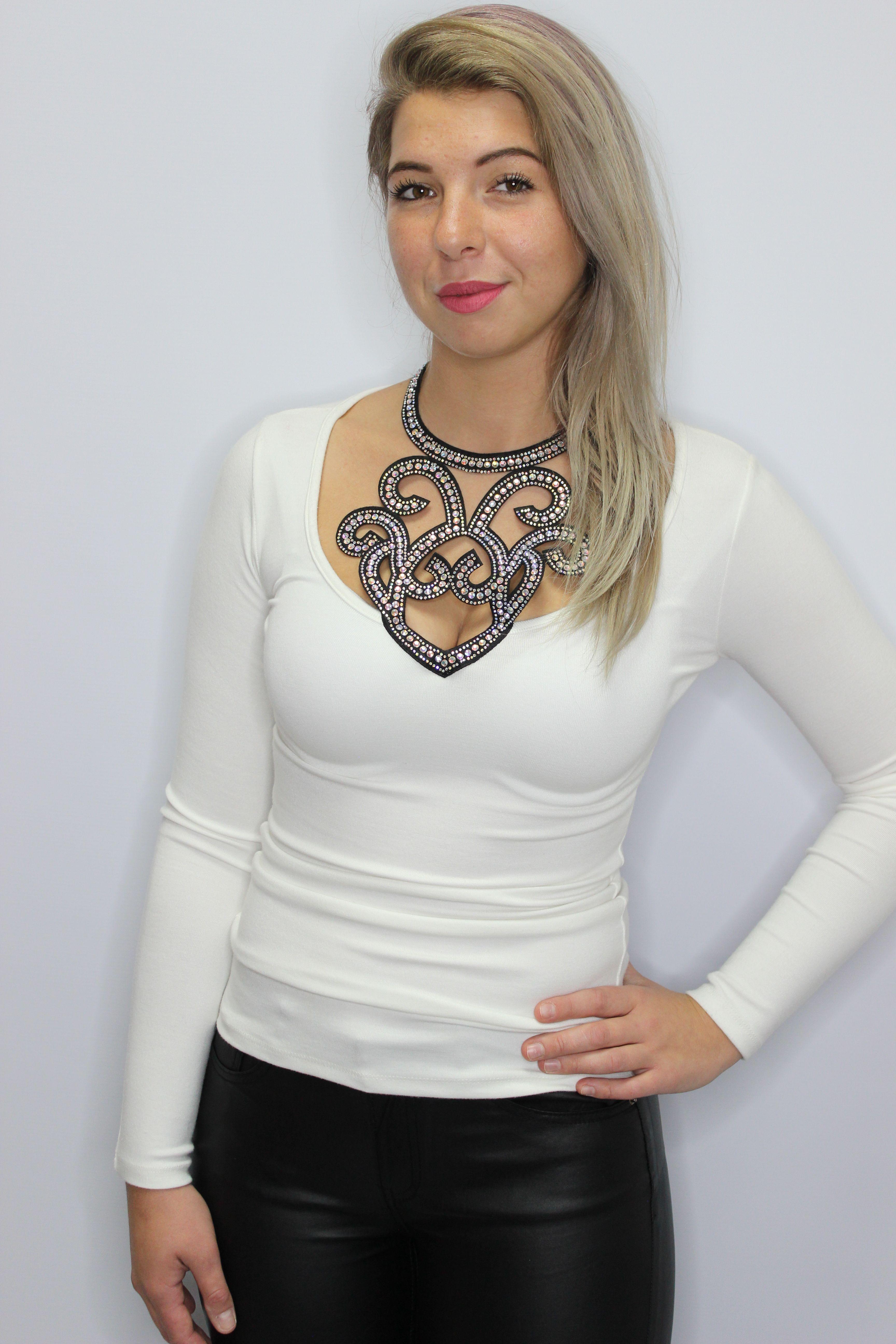 White Elegant Top With Diamante