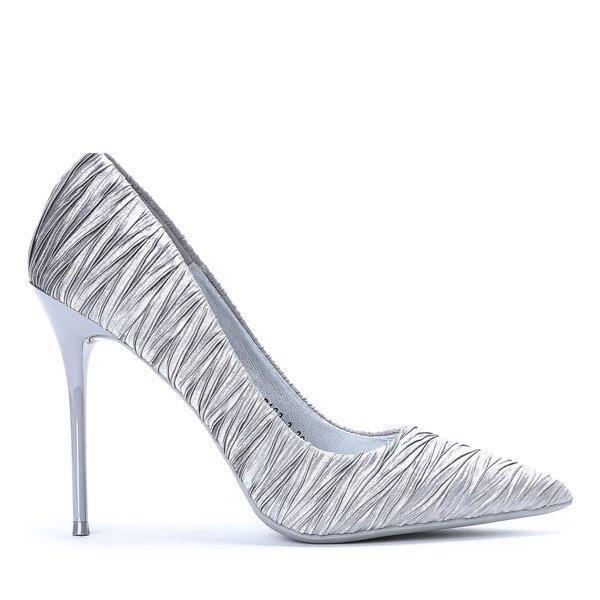 Elegant Grey Satin Stilettos