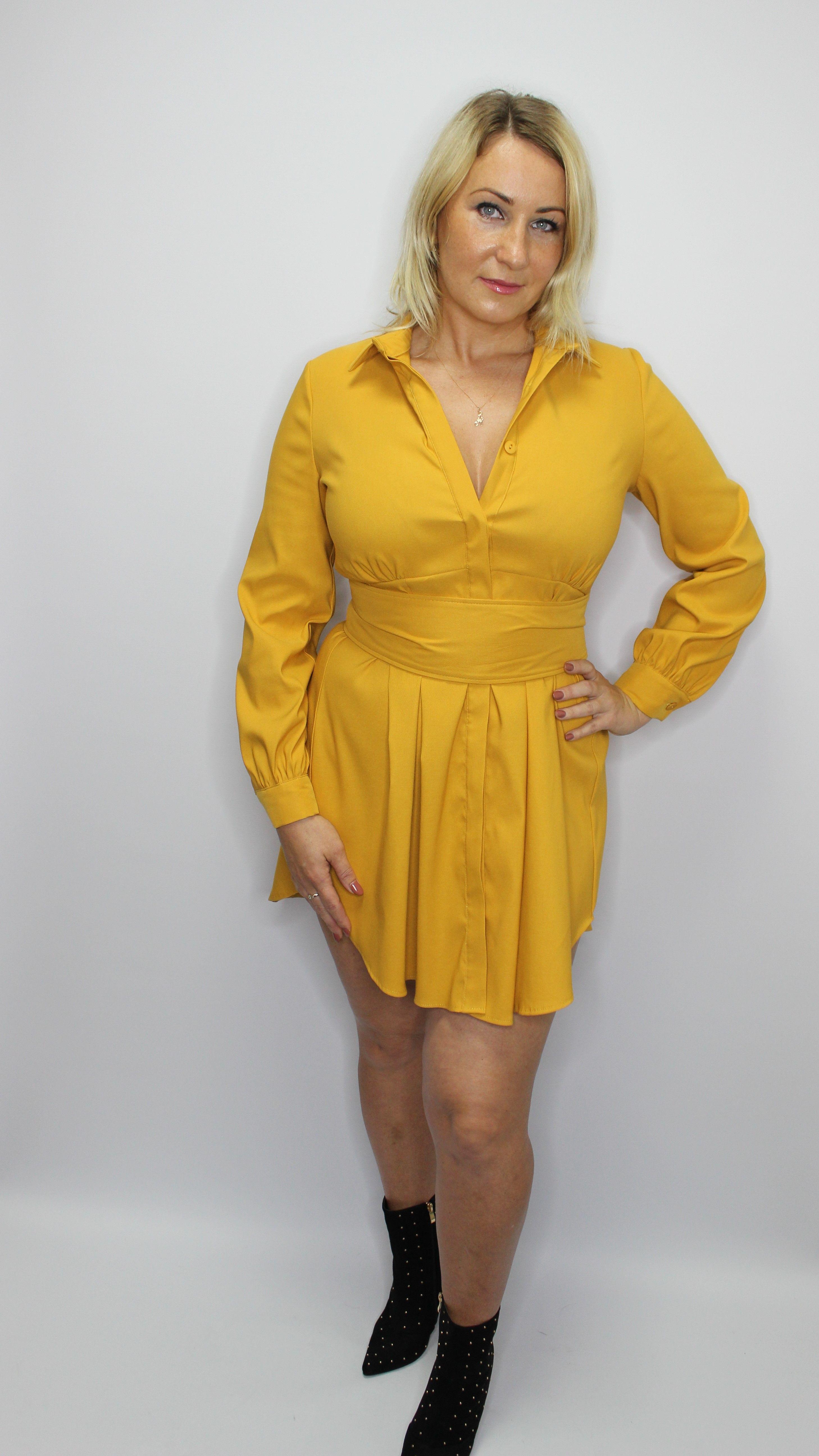 Mustard Shirt Style Dress
