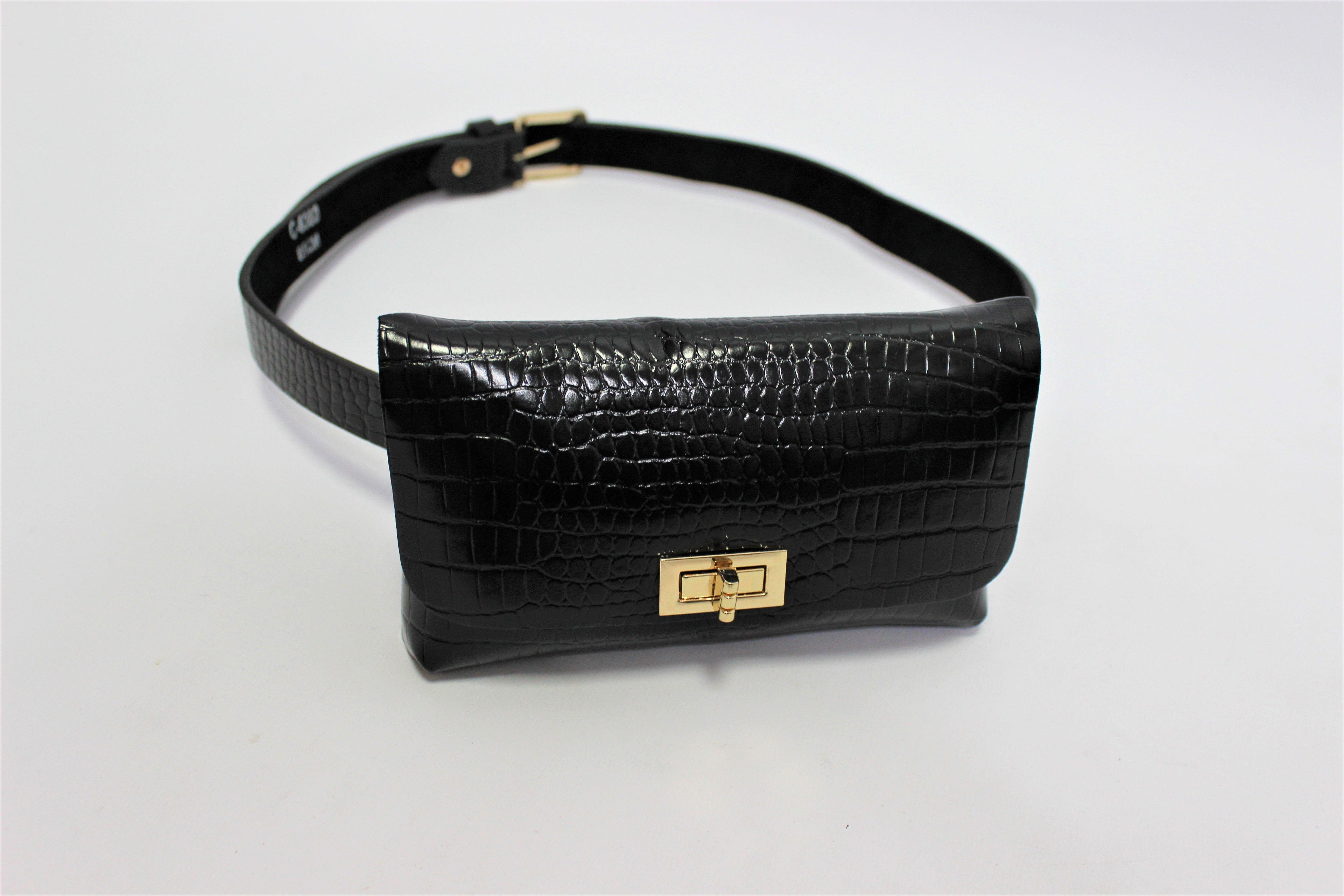 Black Croc Belted Bum Bag
