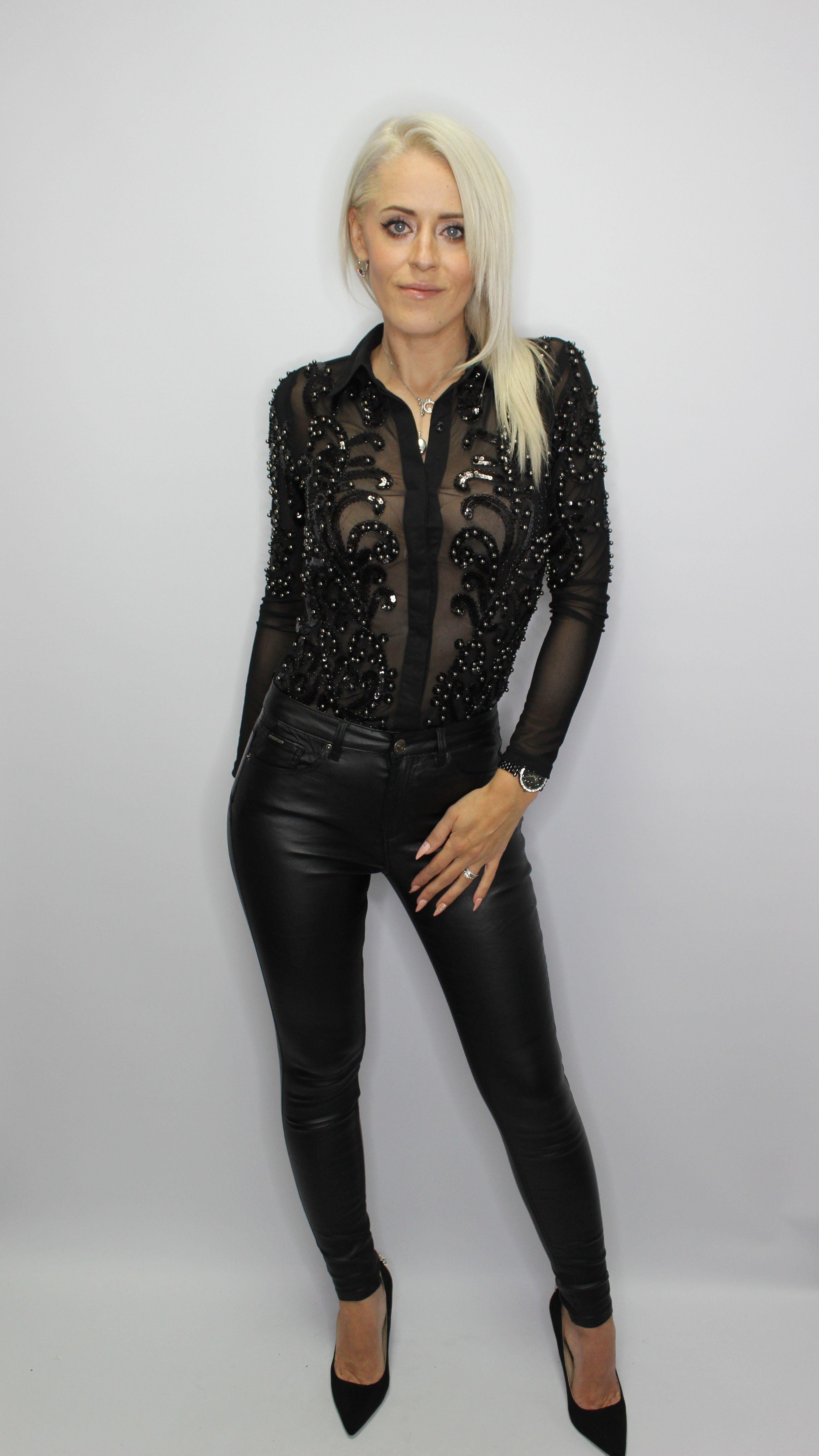 Black Sequin Bodysuit