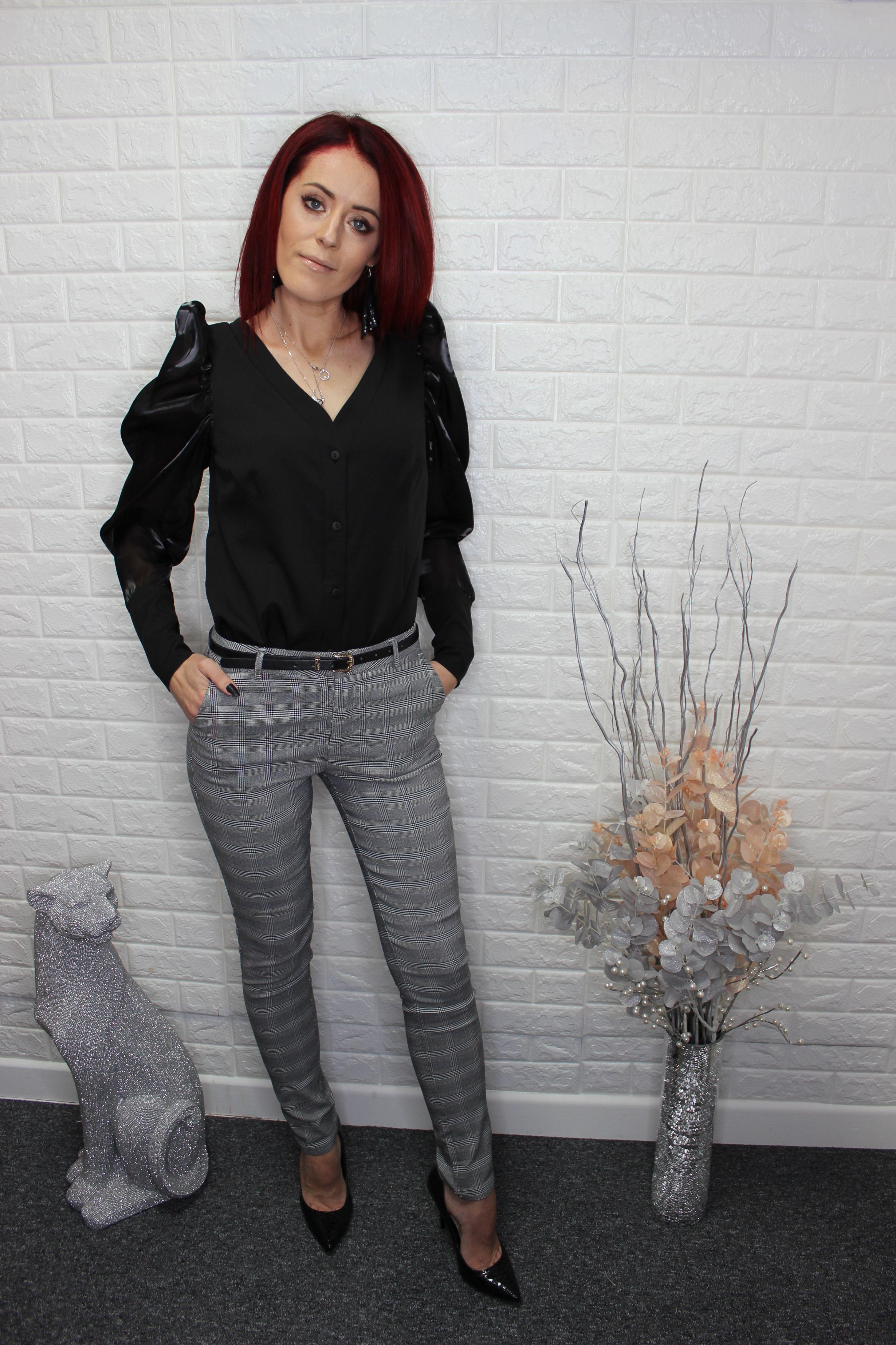 Grey Tweed Check Skinny Trousers