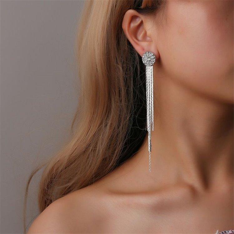 Long Silver Tone Chain Earrings