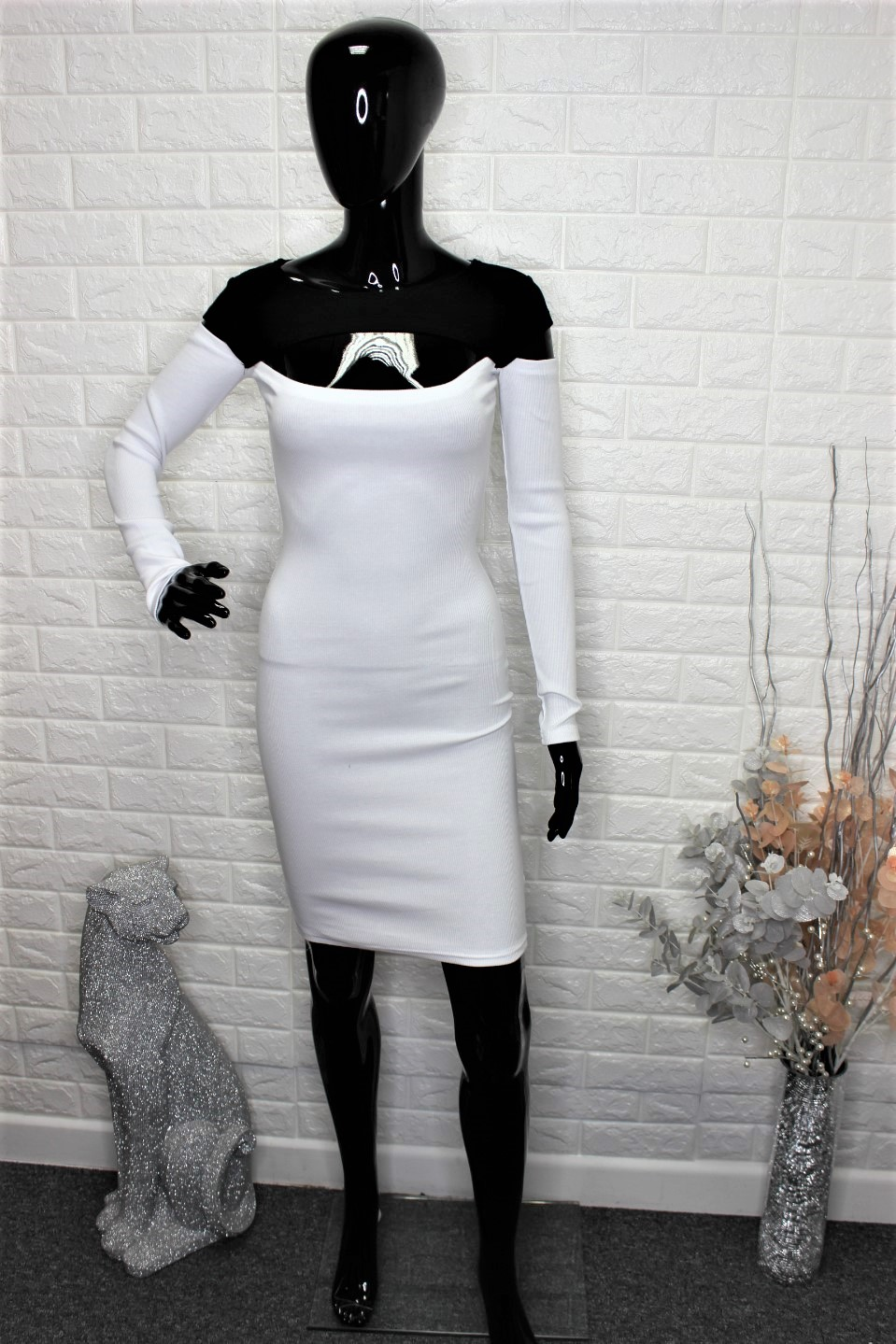 White & Black Casual Dress