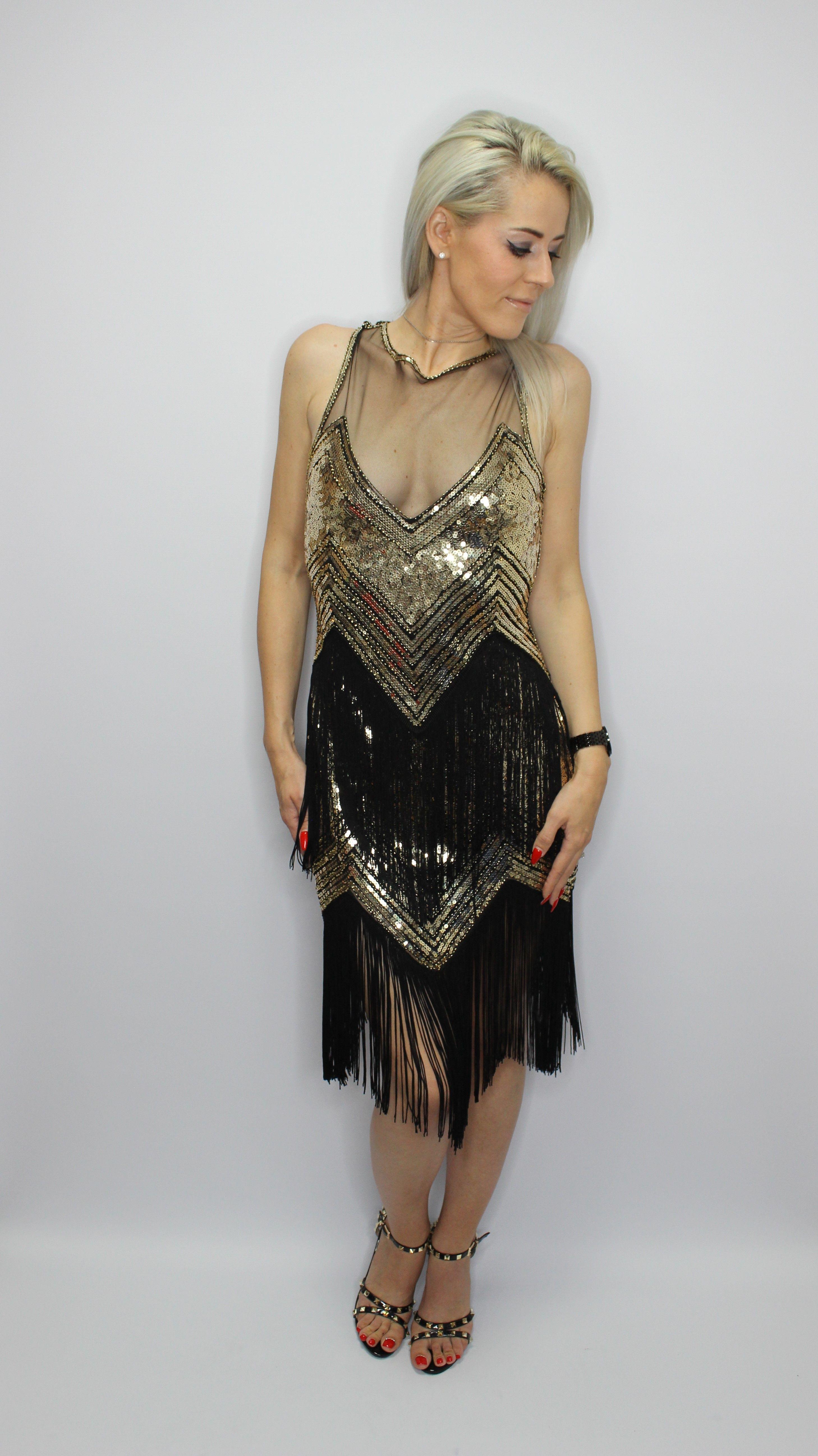 Gold Sequin Tassel Midi Dress