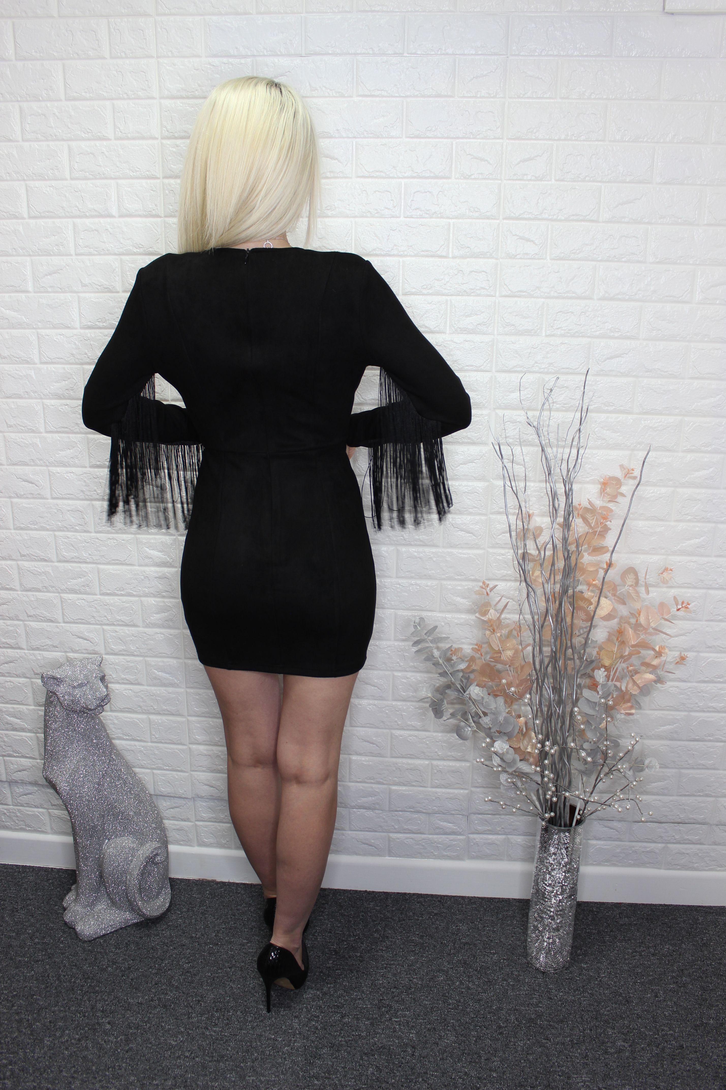 Black Faux Suede Fringed Mini Dress
