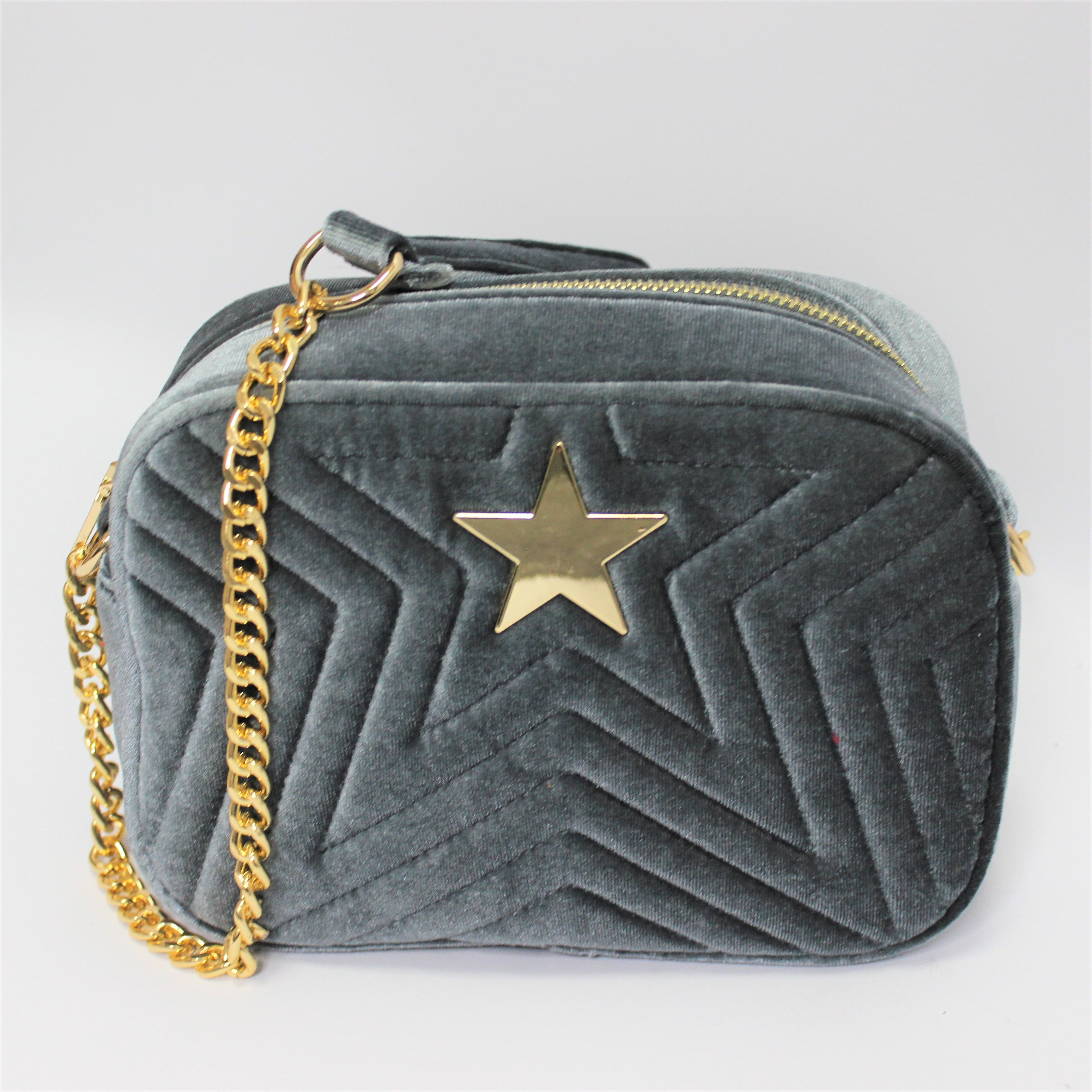 Grey Velour Handbag