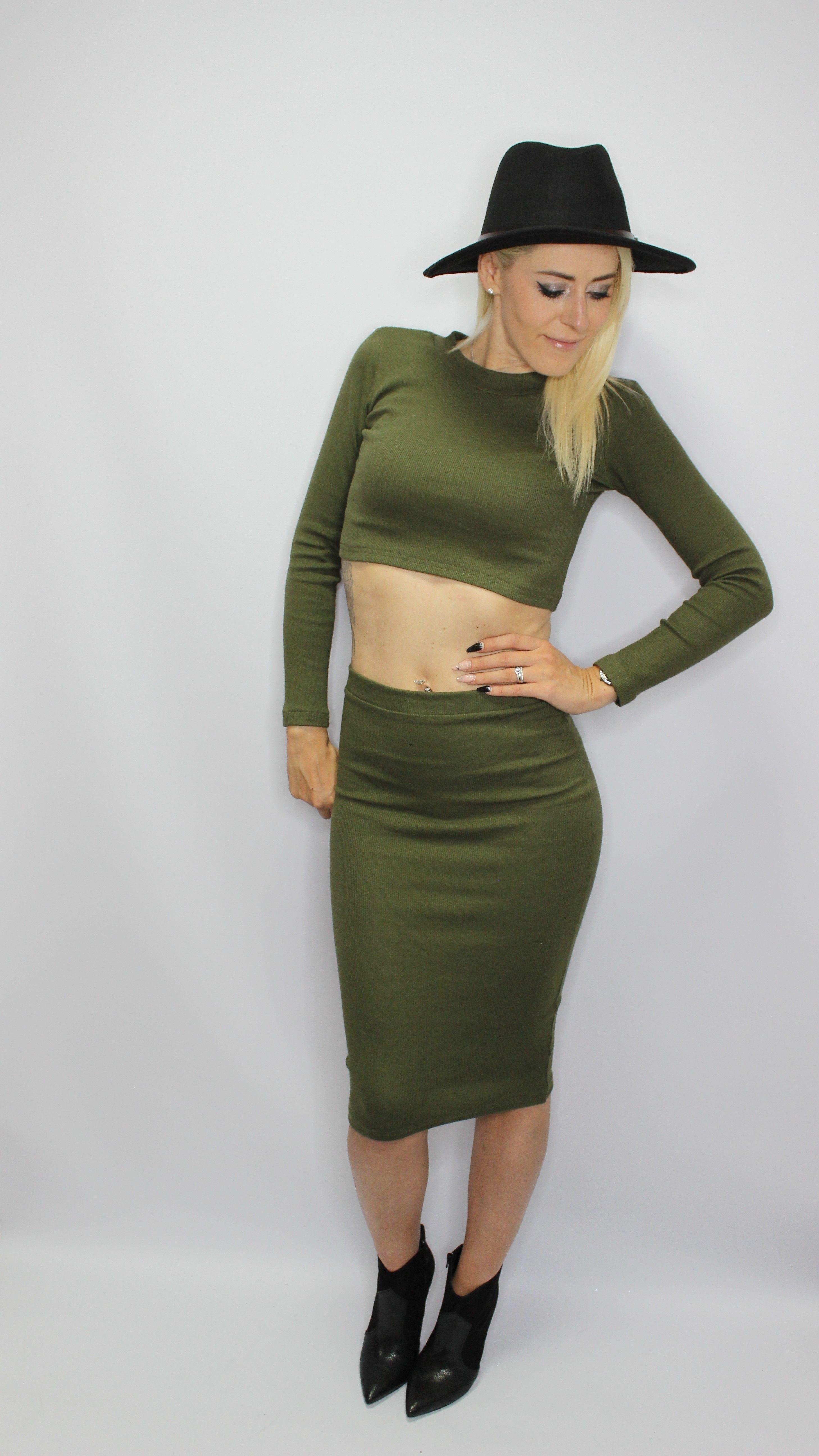 Khaki 2 Piece Skirt/Top Set