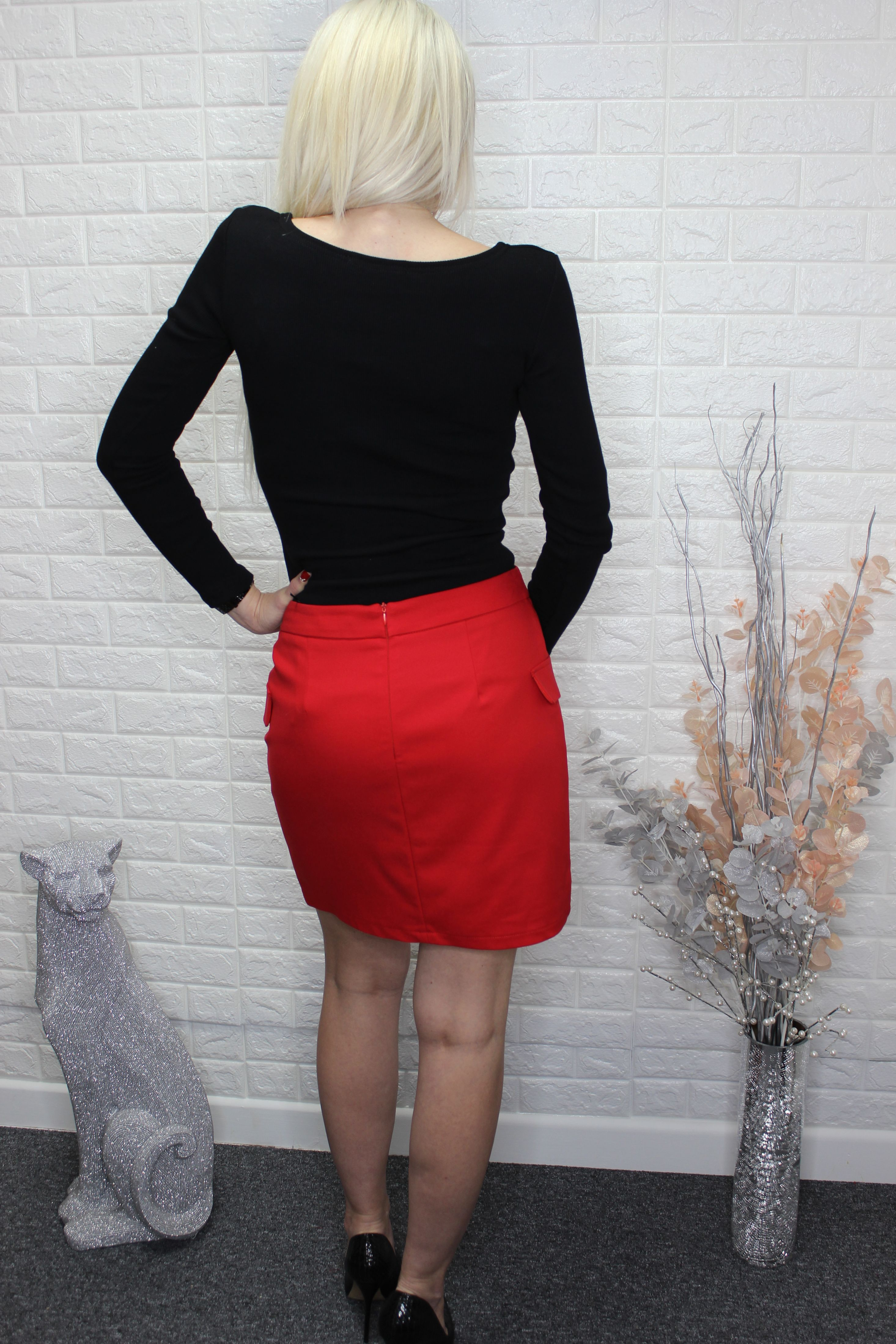 Red Double Breasted Skirt