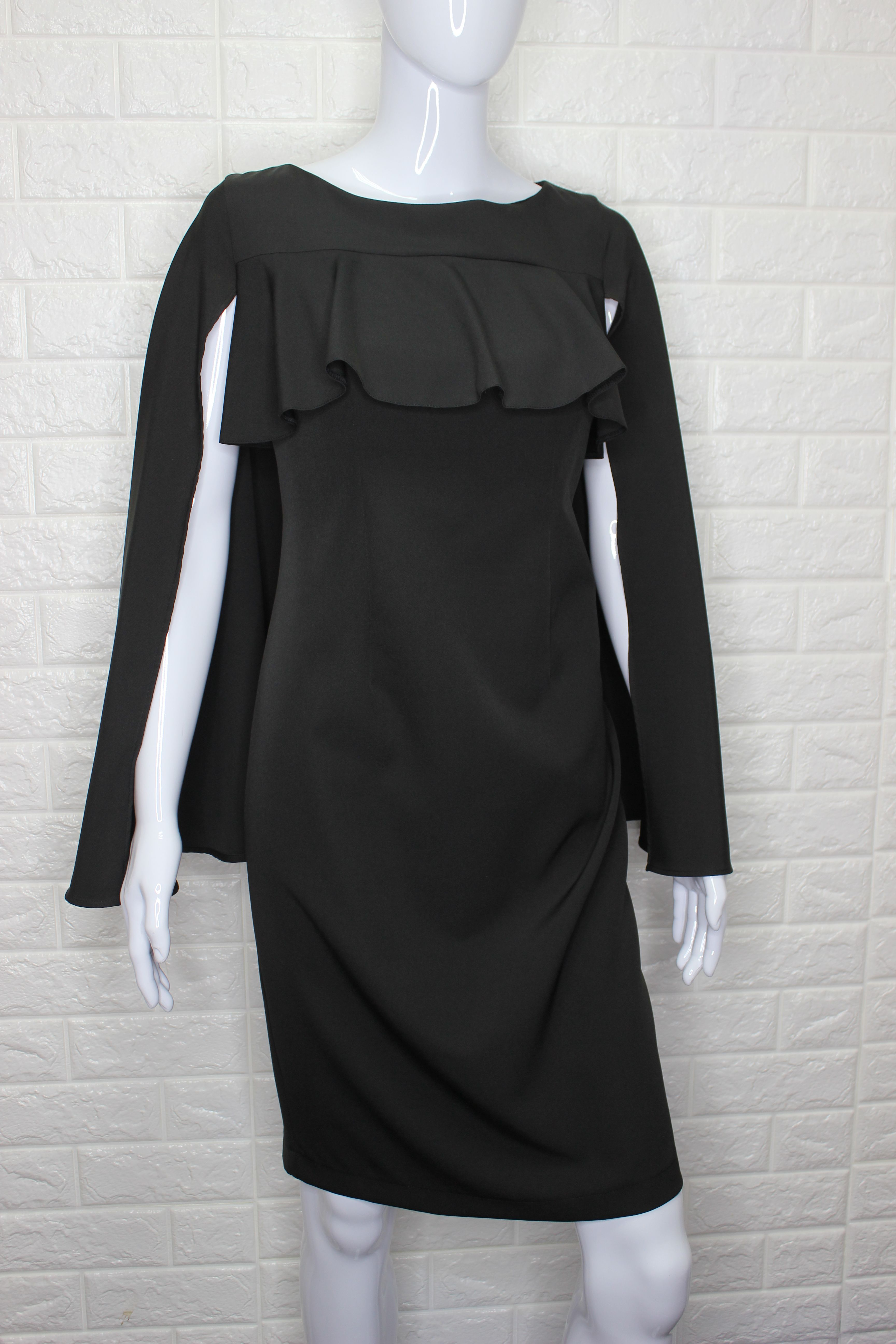 Black Pencil Dress With Cape Sleeve
