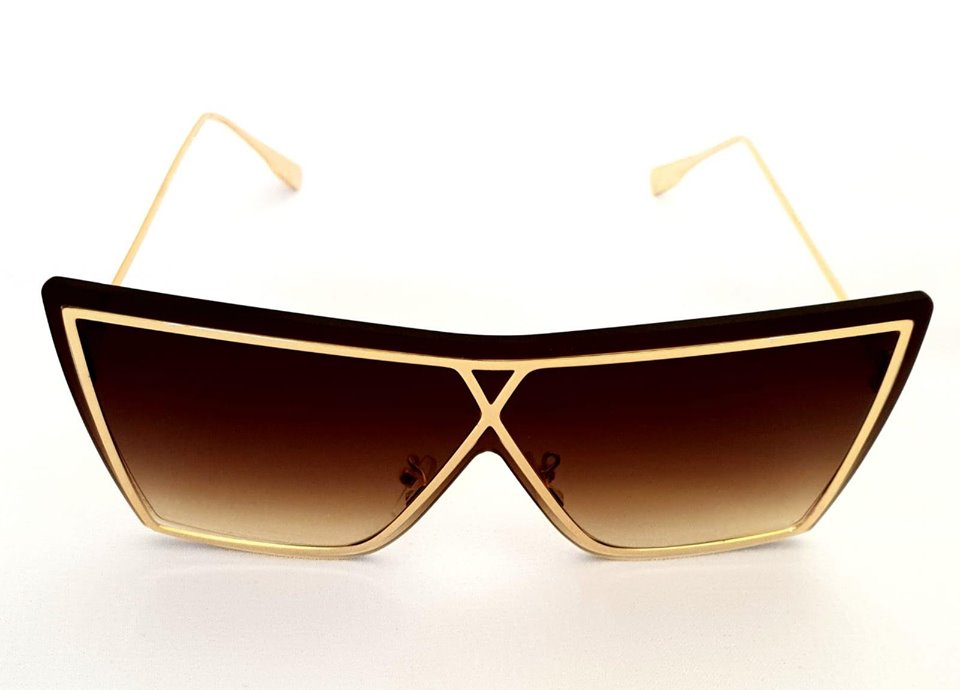 Brown Oversized Sunglasses With Gold Frame