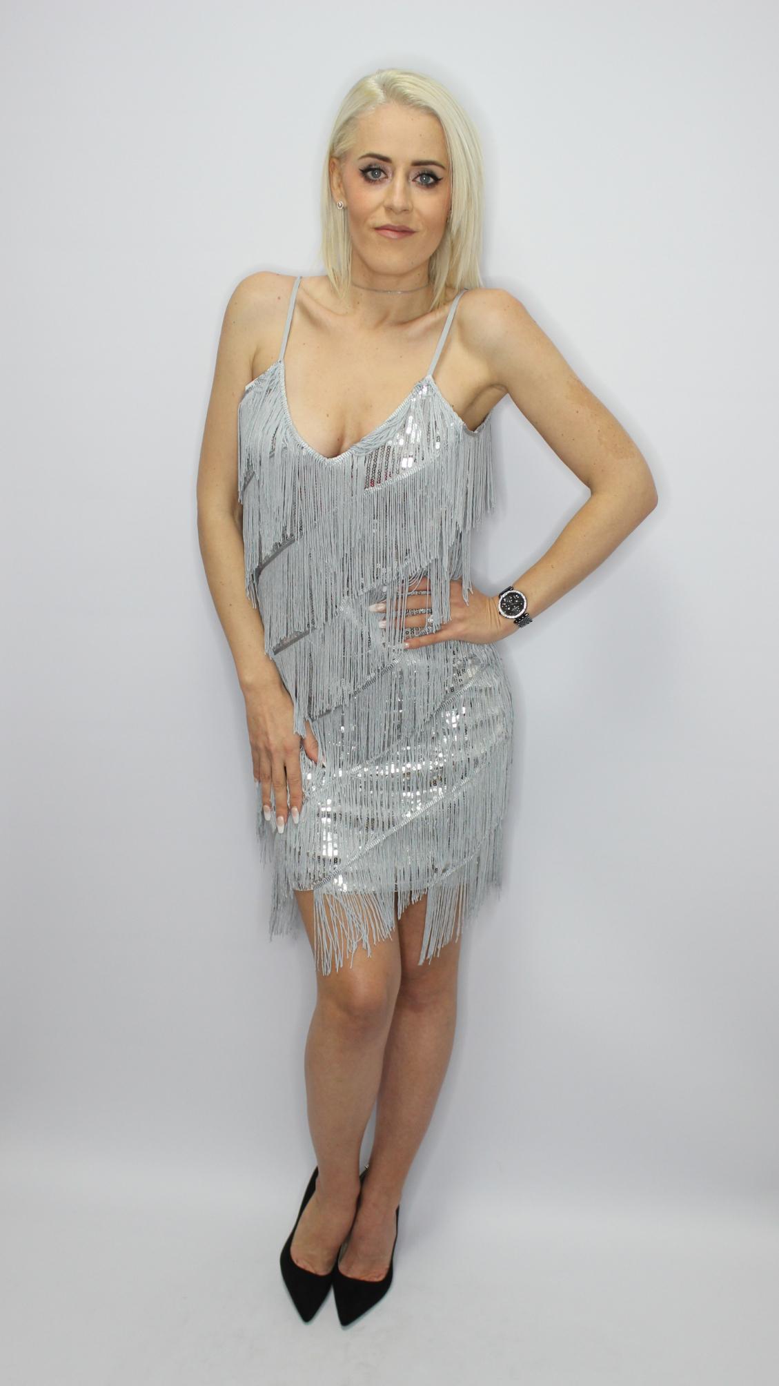 Silver Sequin Tassel Mini Dress