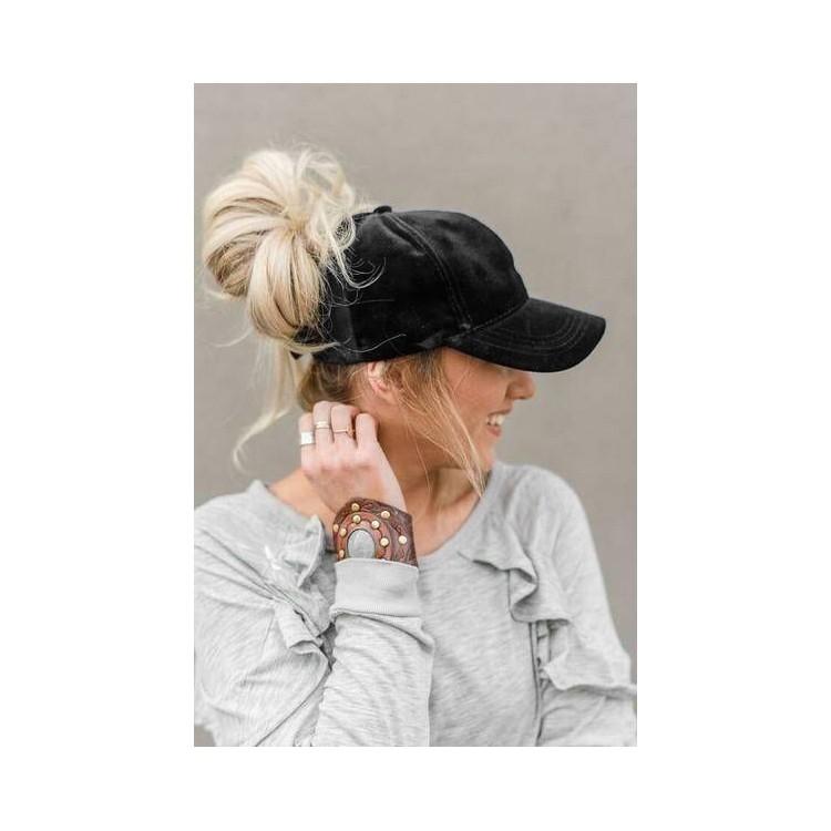 Black Suede Cap