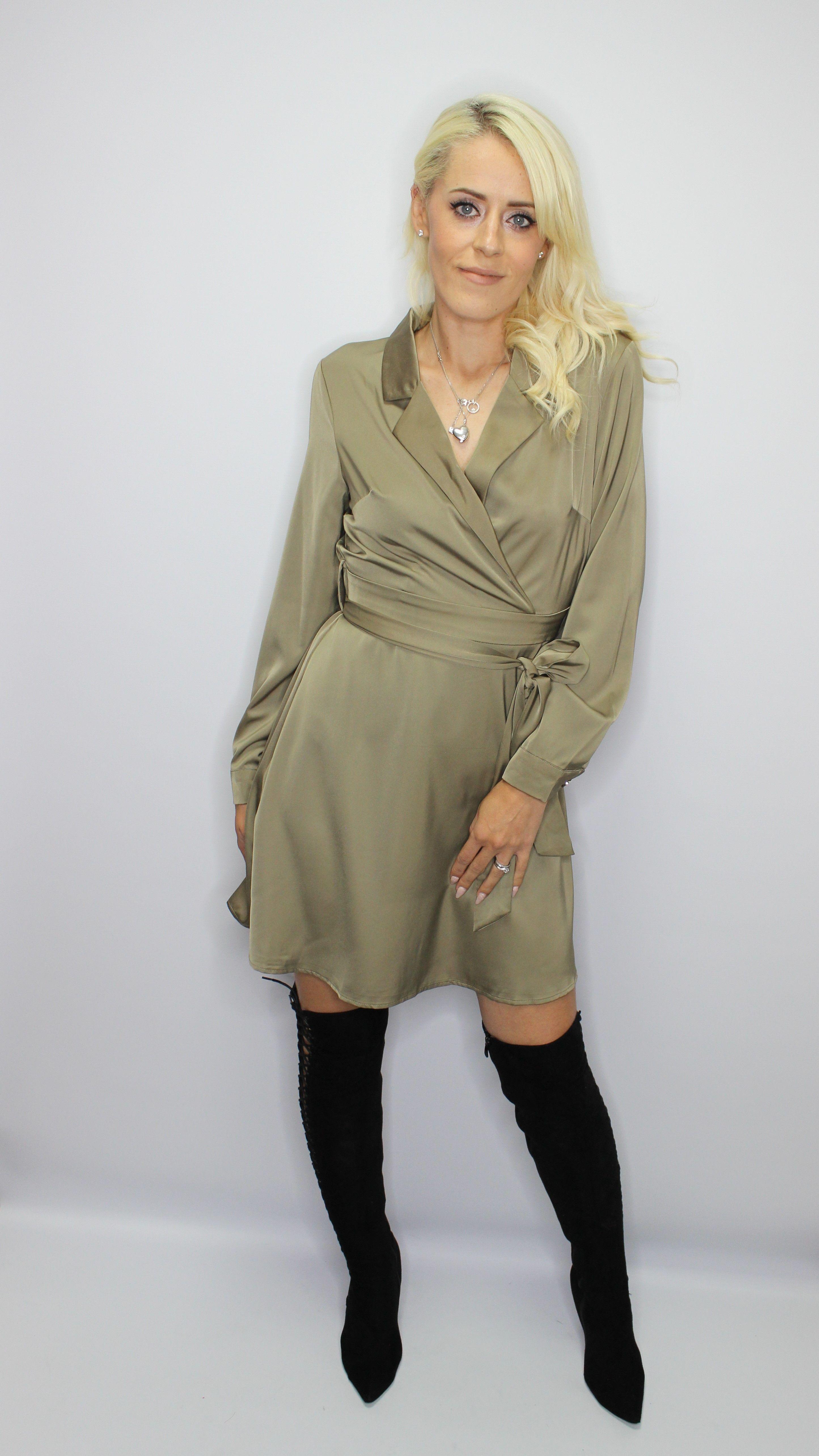 Khaki Blazer Dress