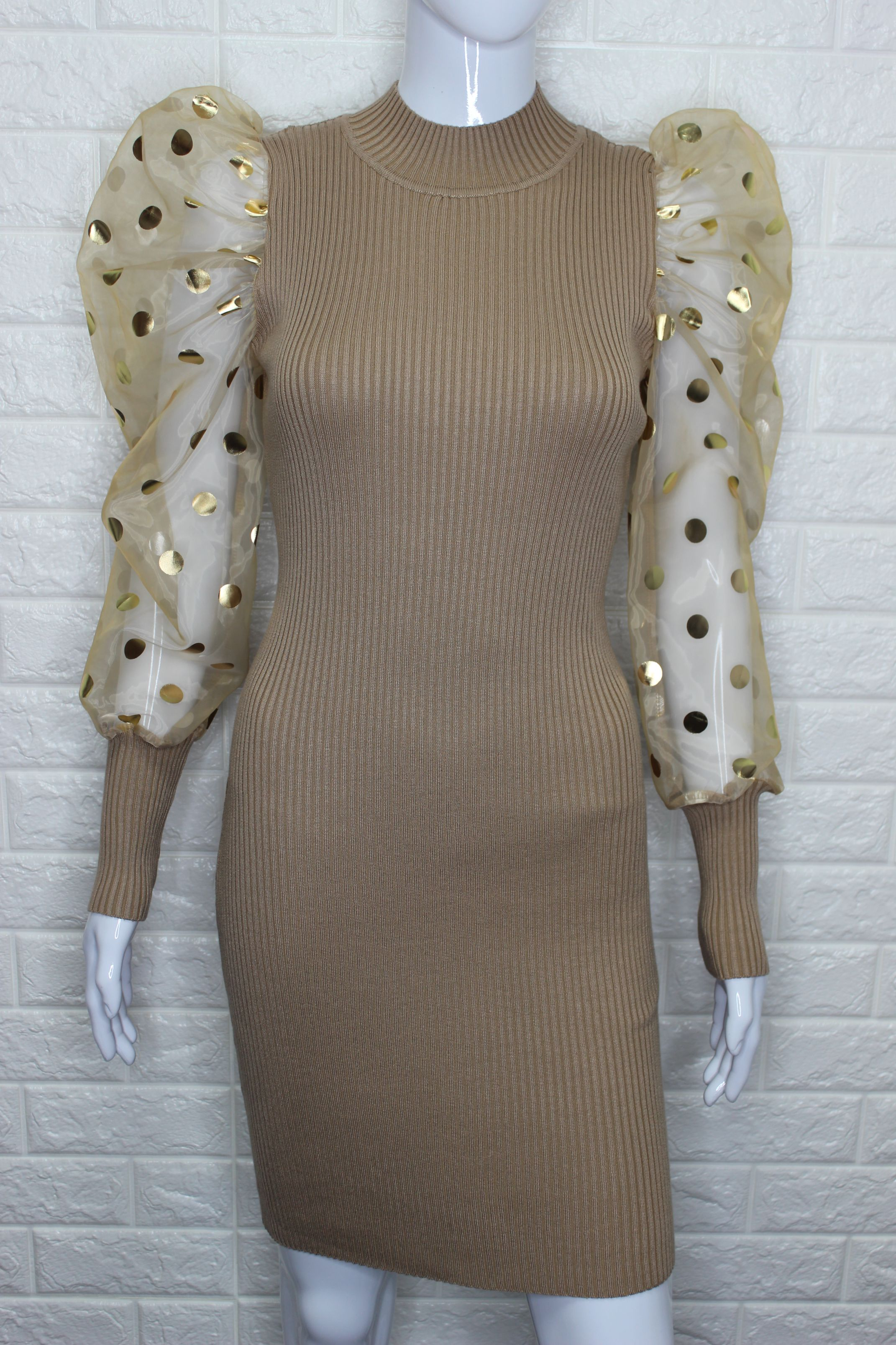 Caramel Mesh Sheer Puff Sleeve Mini Dress