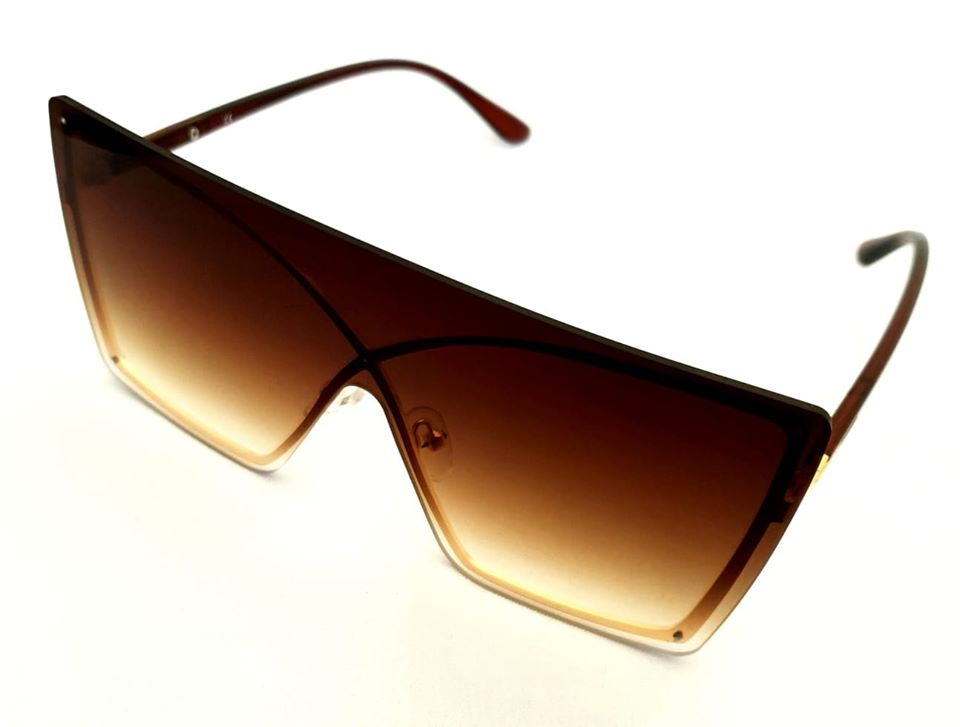 Brown Faded Square Oversized  Sunglasses