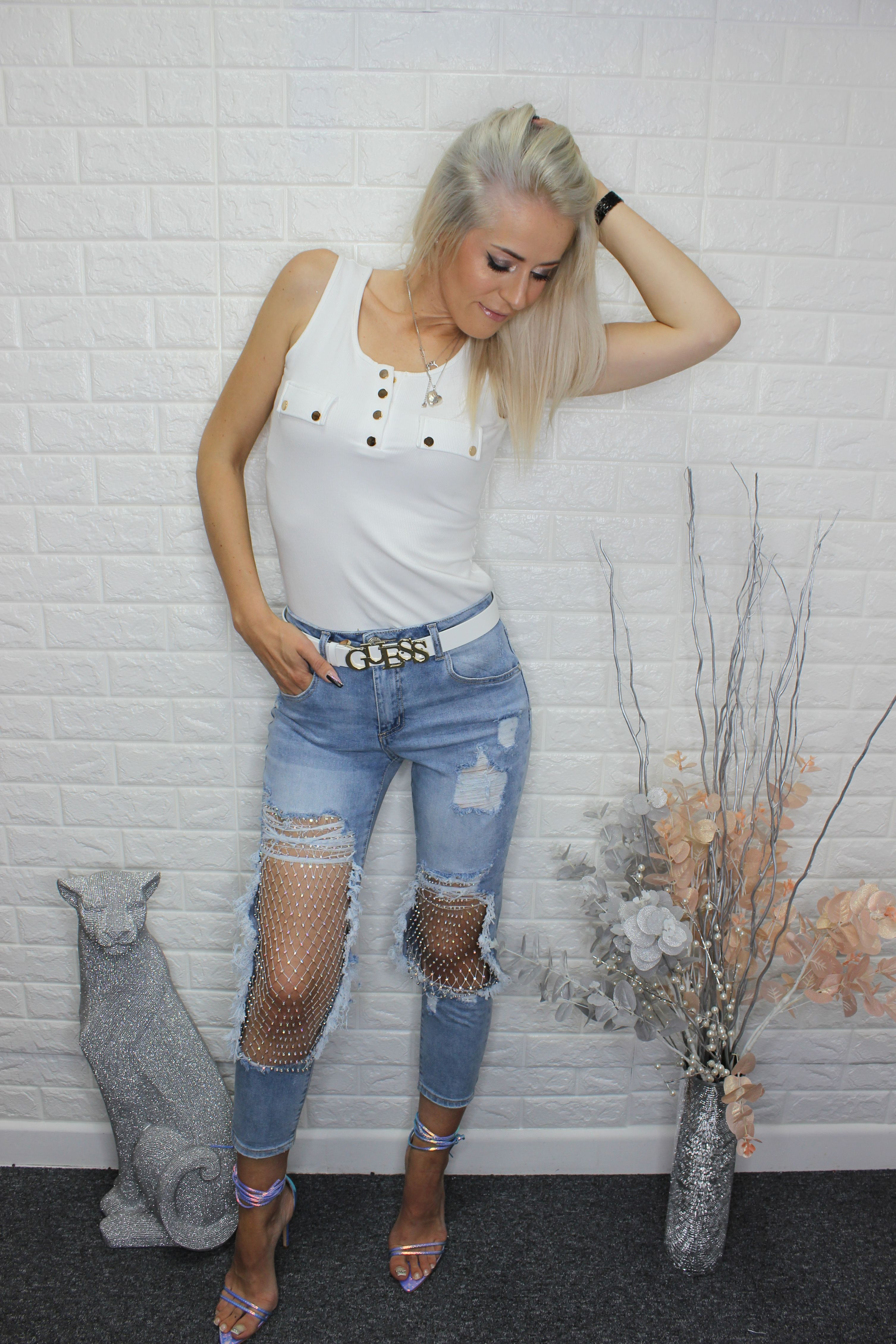 Light Wash Extreme Distressed Jeans