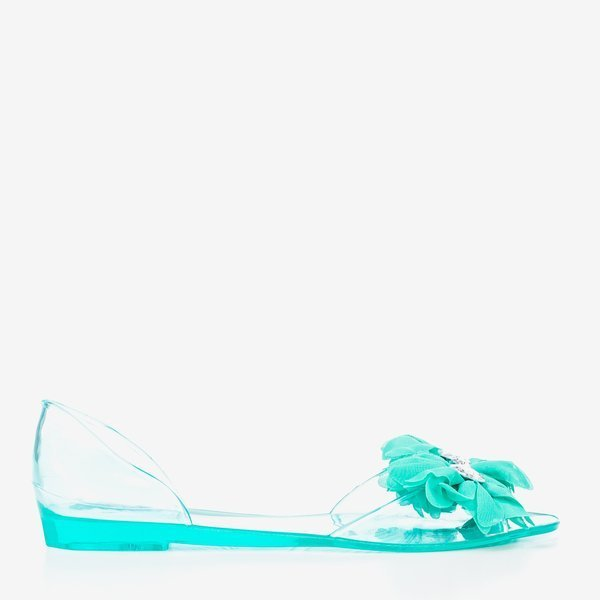 Clear Cyan Peep Toe Jelly Flats Sandals