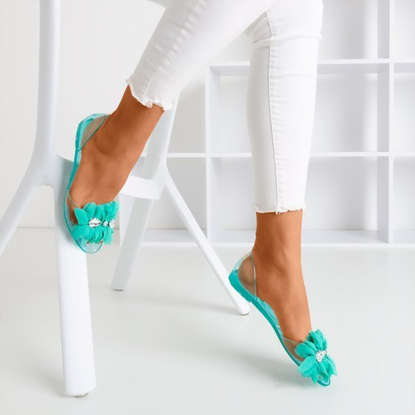 Clear Cyan Peep Toe Jelly Flats Sandals