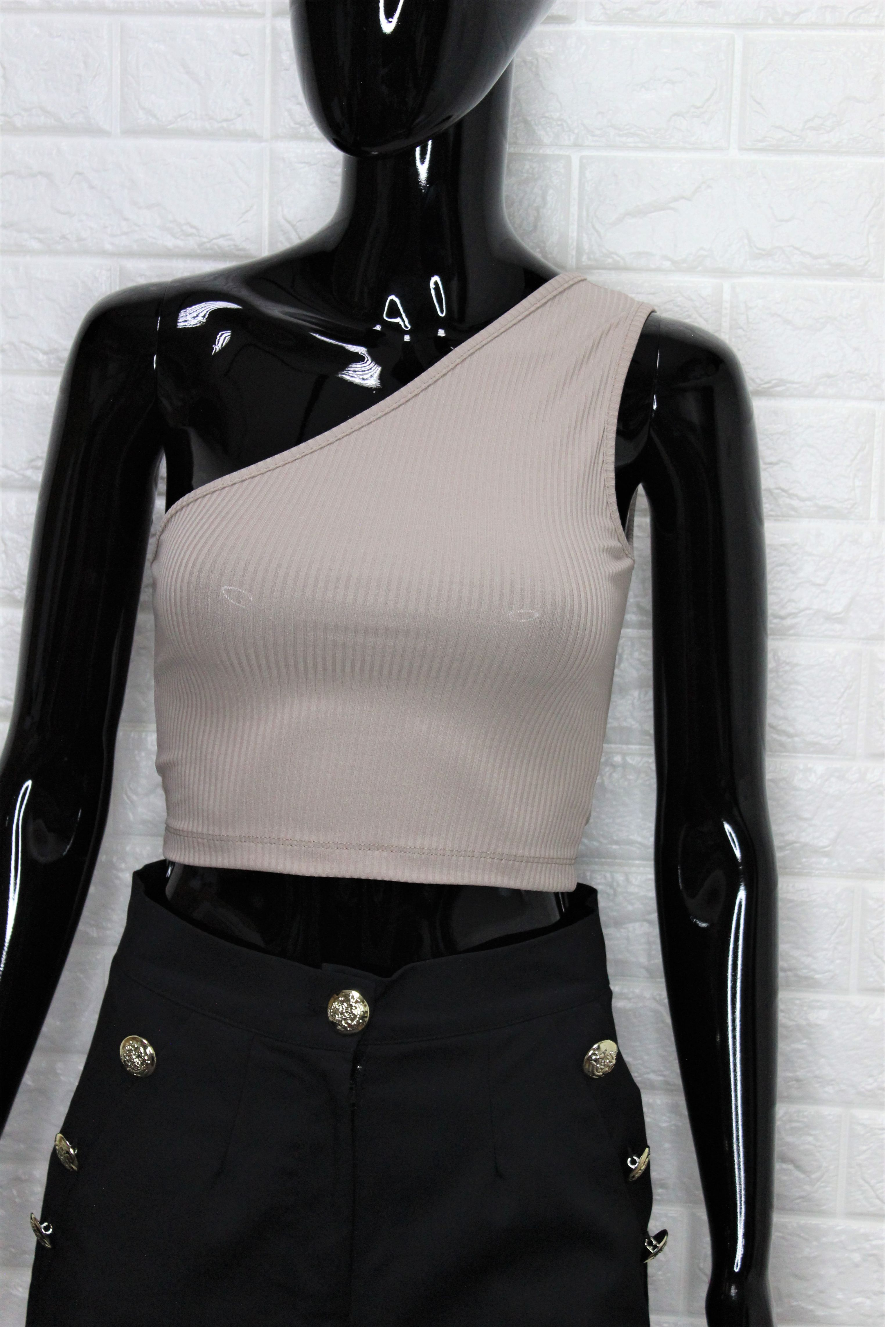 Mocha One Shoulder Crop Top