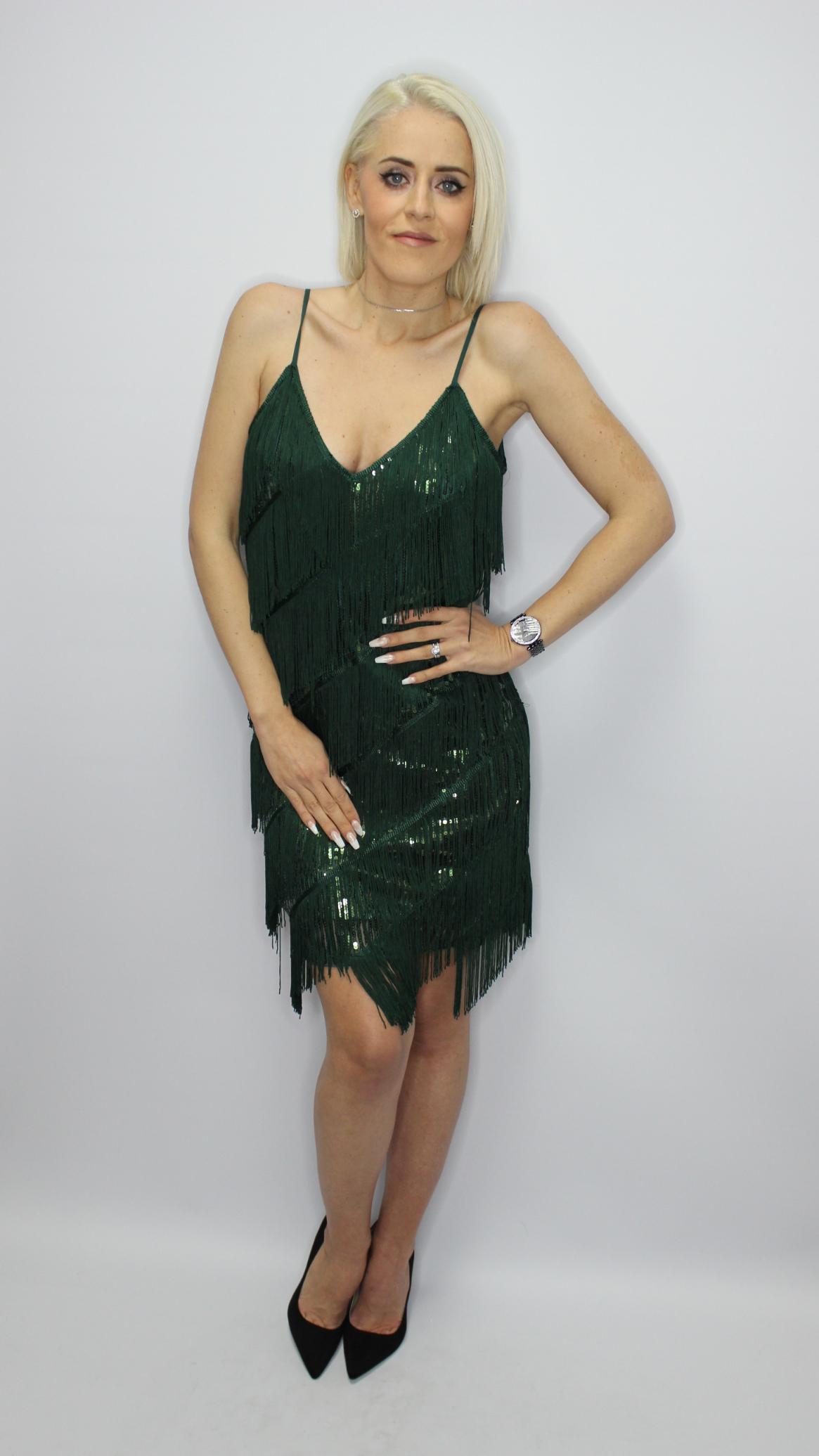 Green Sequin Tassel Mini Dress