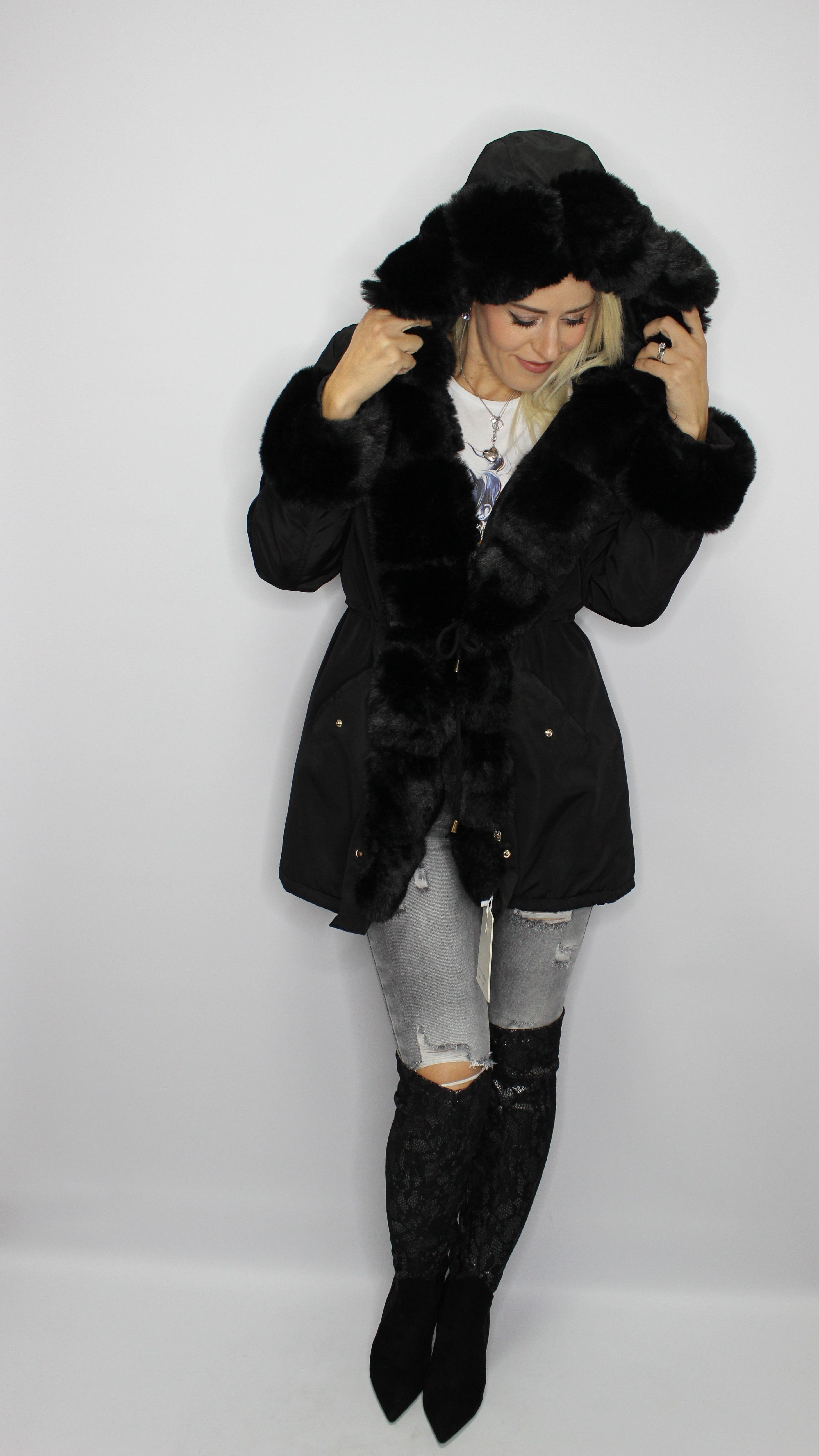 Black Chunky Faux Fur Coat