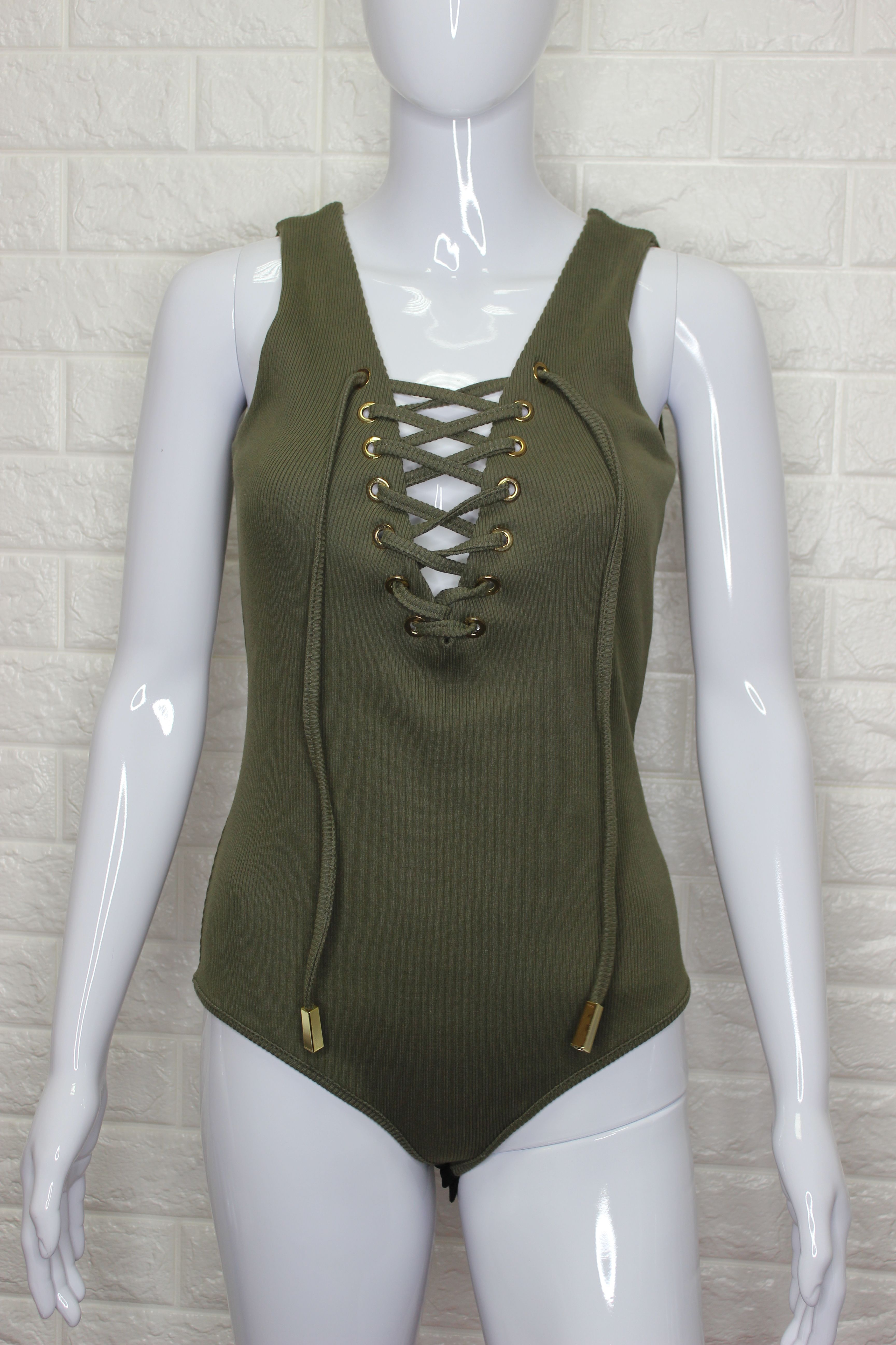 Khaki Lace Up Bodysuit