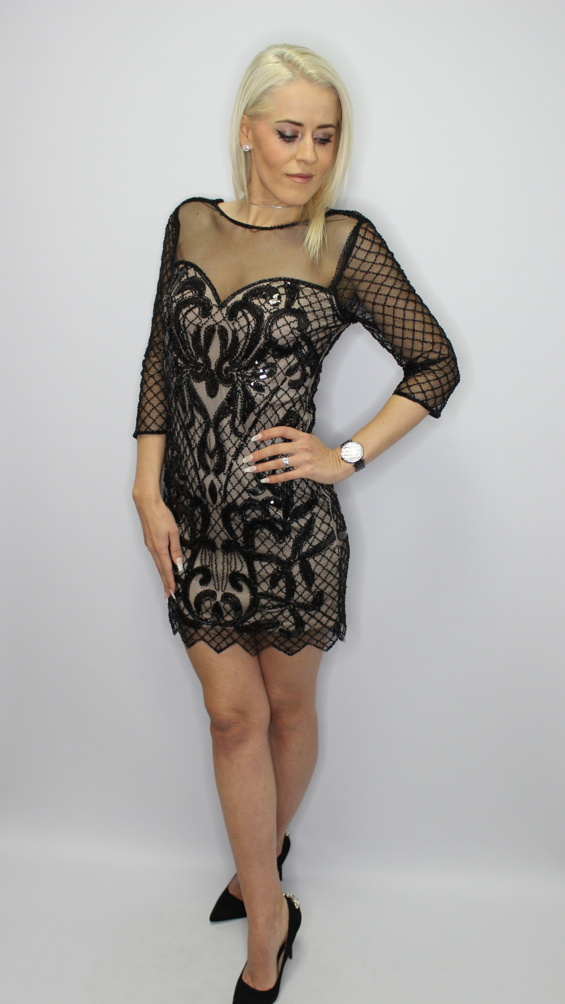Black Sequin Bodycon Dress