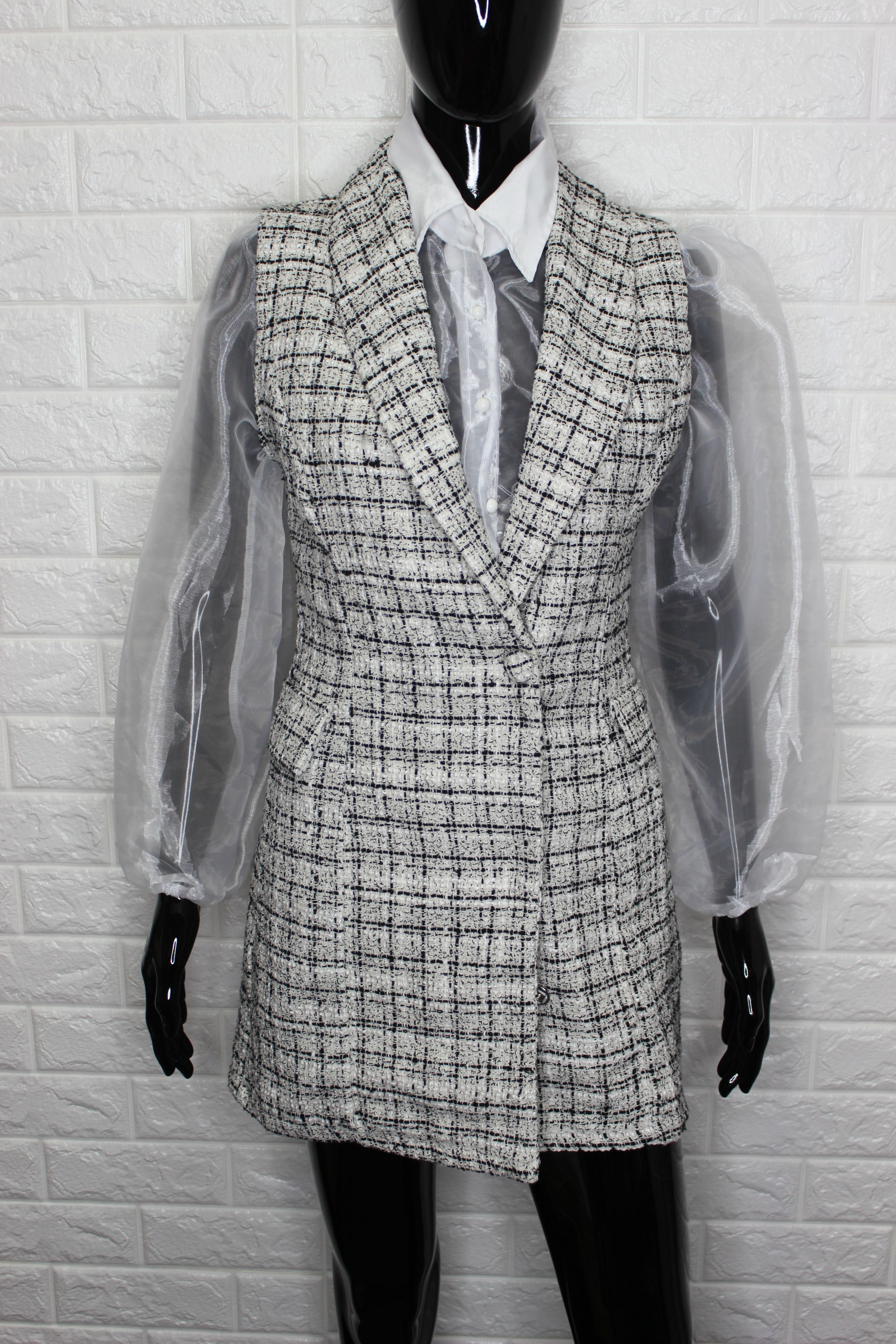 Check Blazer Dress Set
