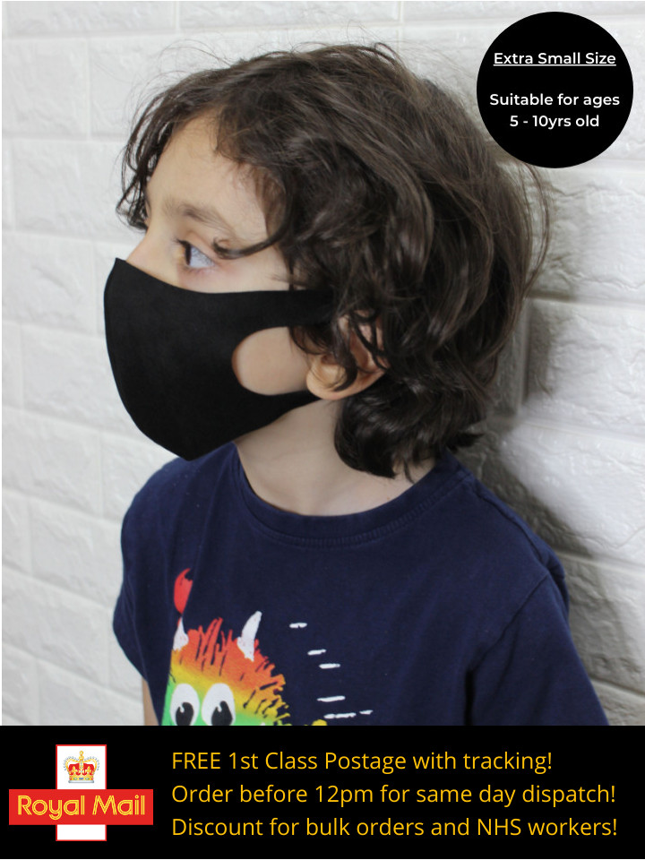 Face Mask - Black (Kids Extra Small)