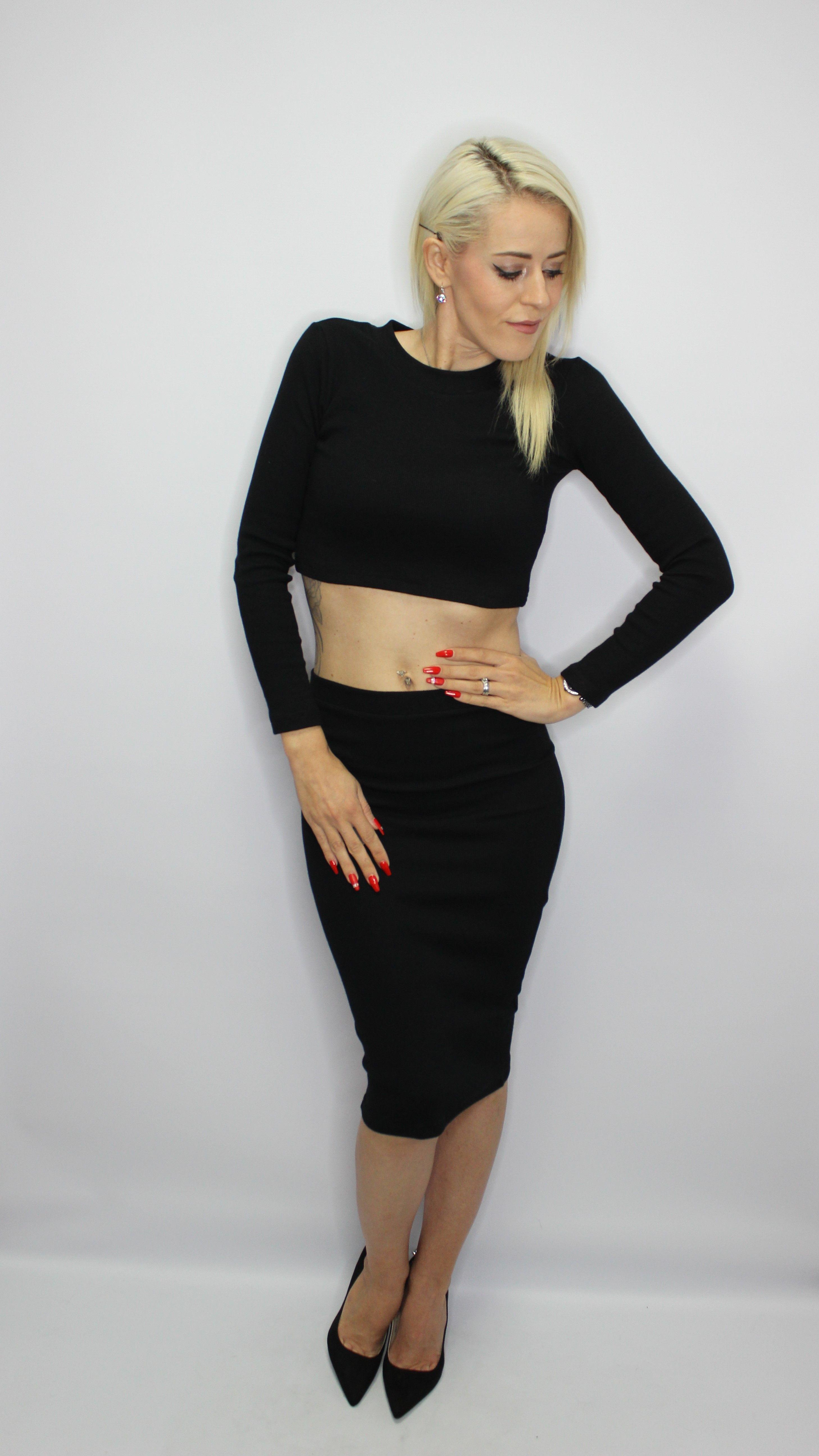 Black 2 Piece Skirt/Top Set