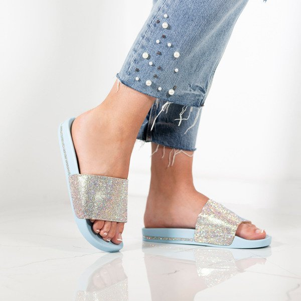 Baby Blue Diamante Sliders