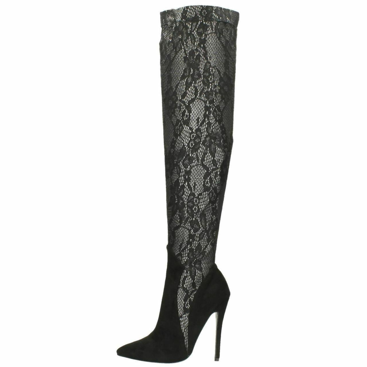 Black Over The Knee Snake Pattern Boots