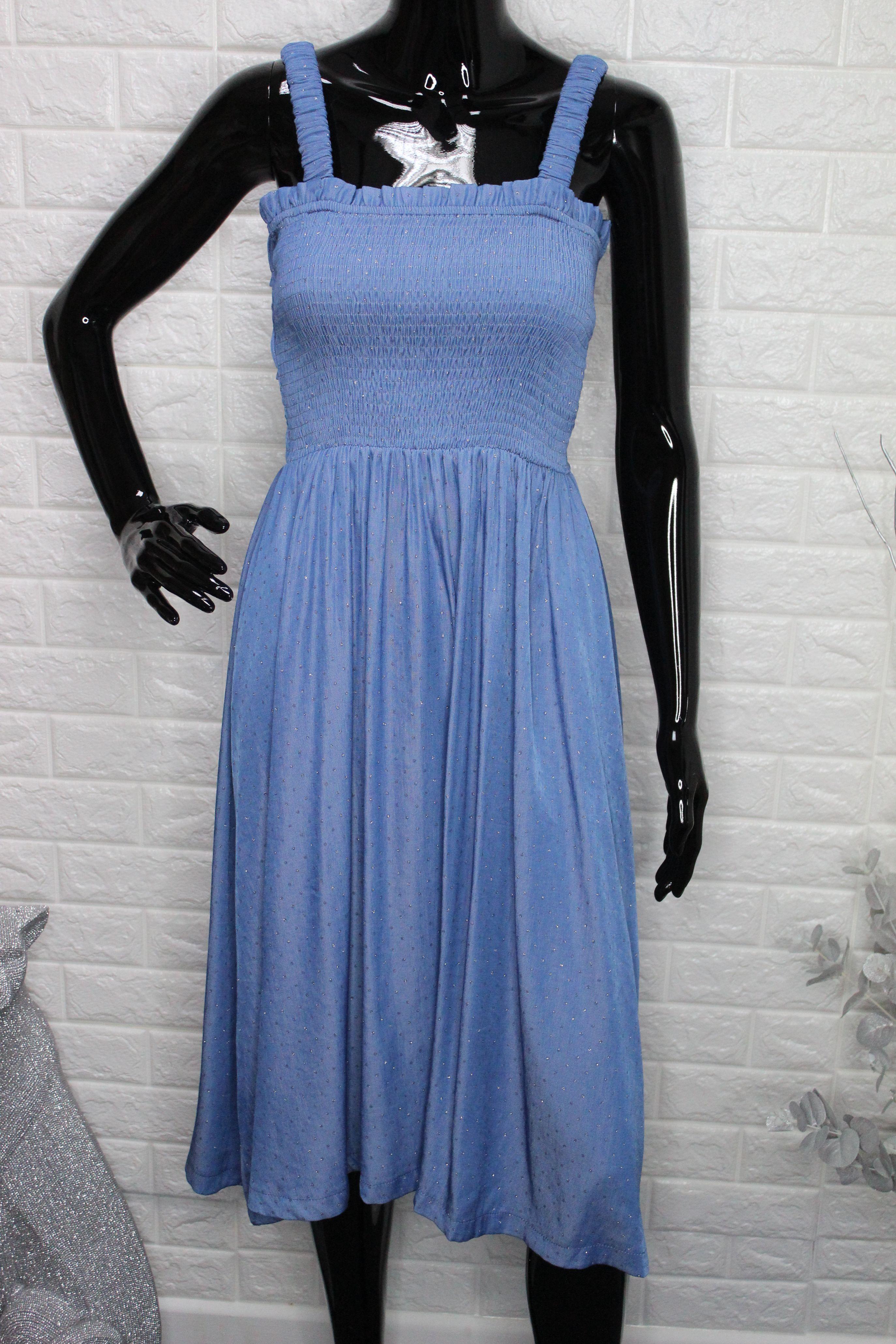 Blue Shimmery Midi Dress