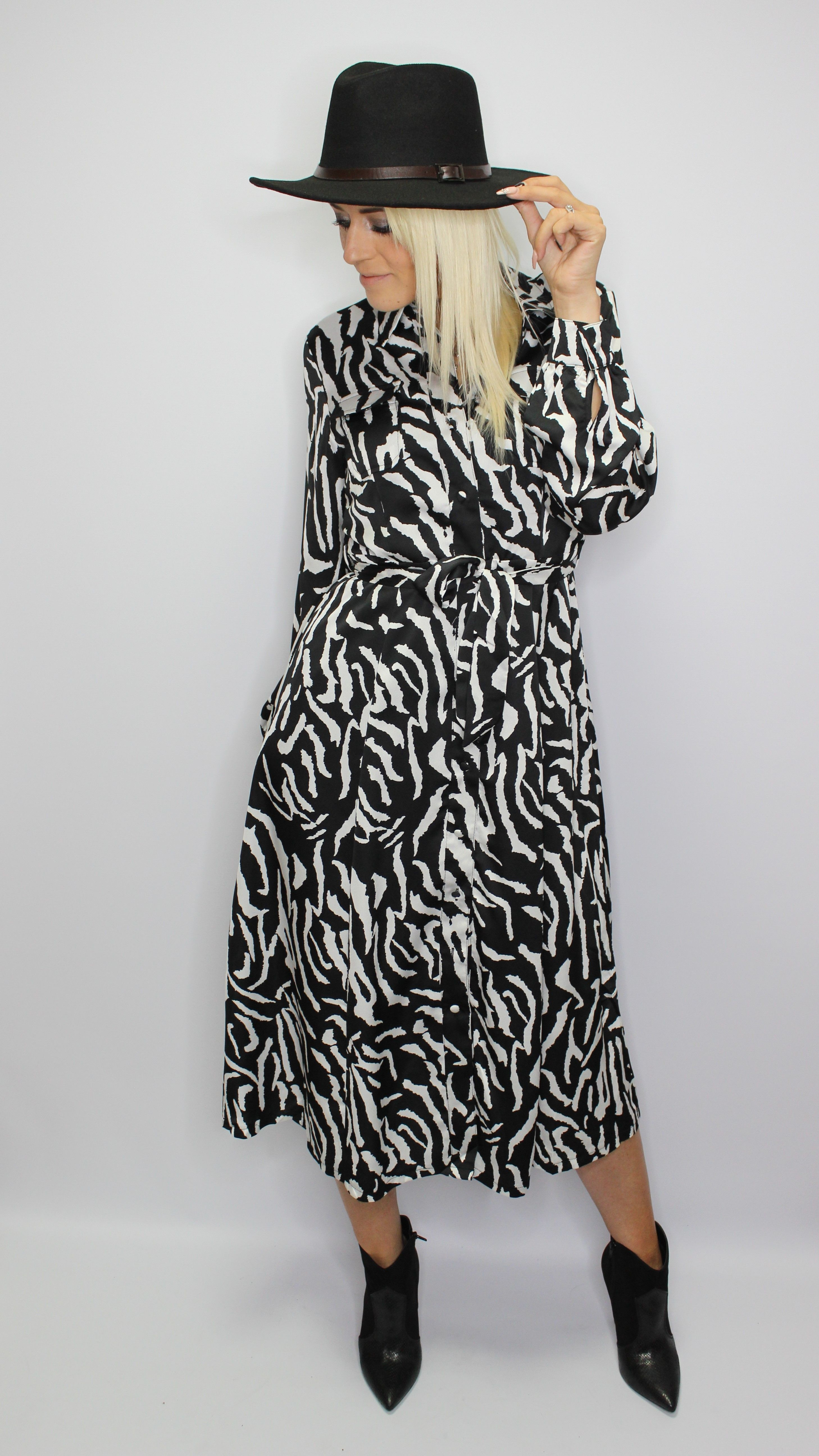 Zebra Print Midi Dress