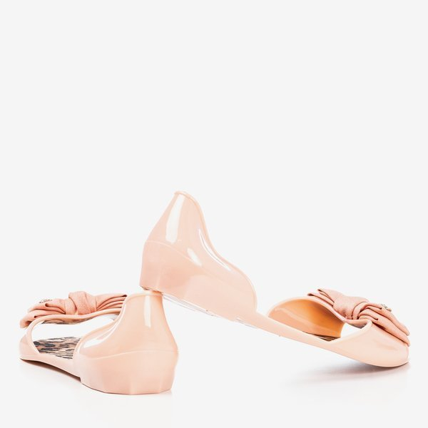 Nude Peep Toe Jelly Flats Sandals