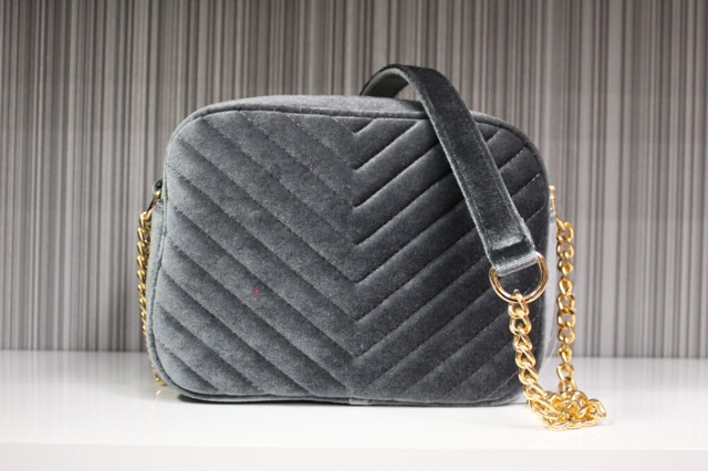 Grey Velour Handbag