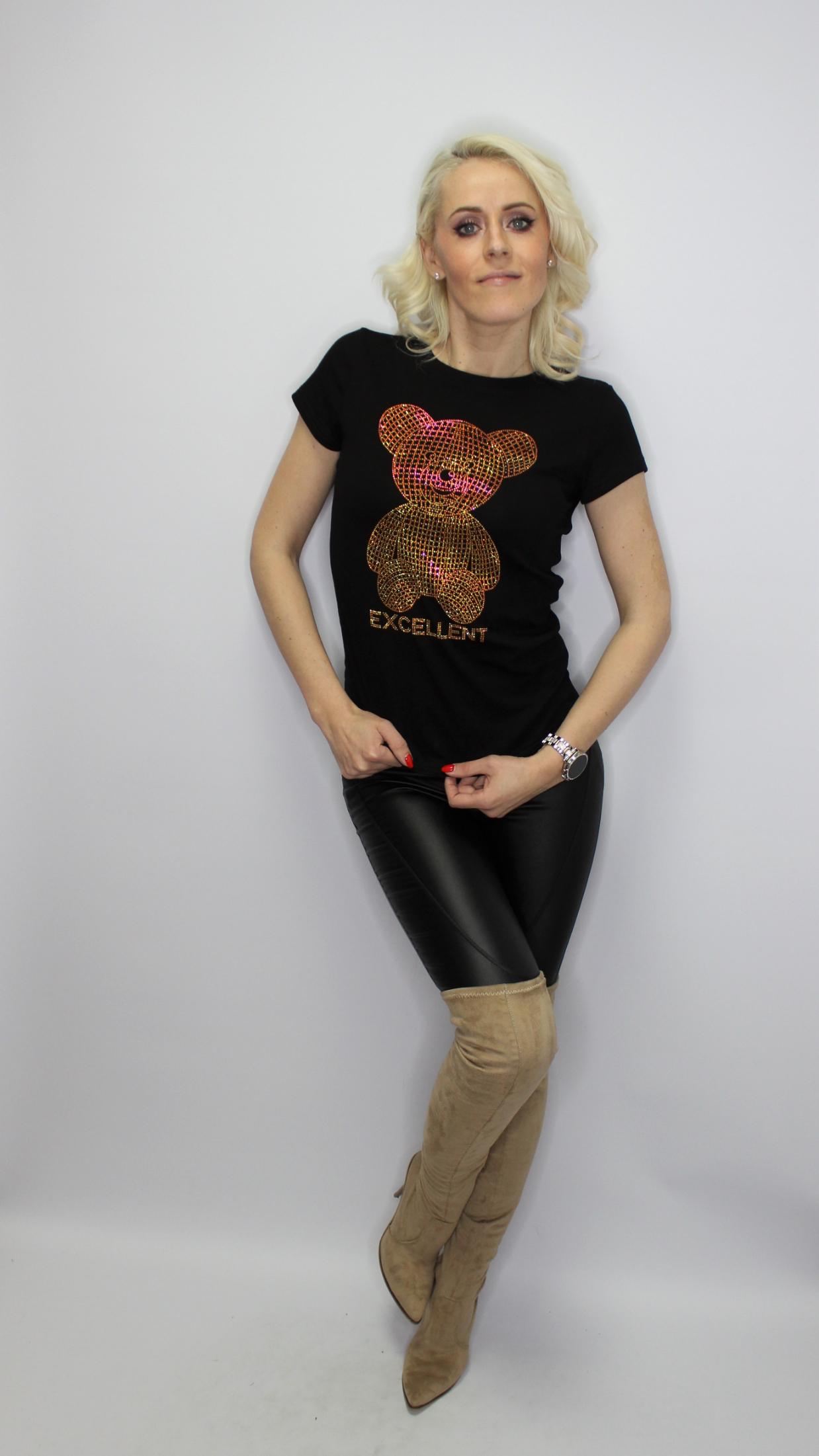 Black Diamante Teddy T-Shirt